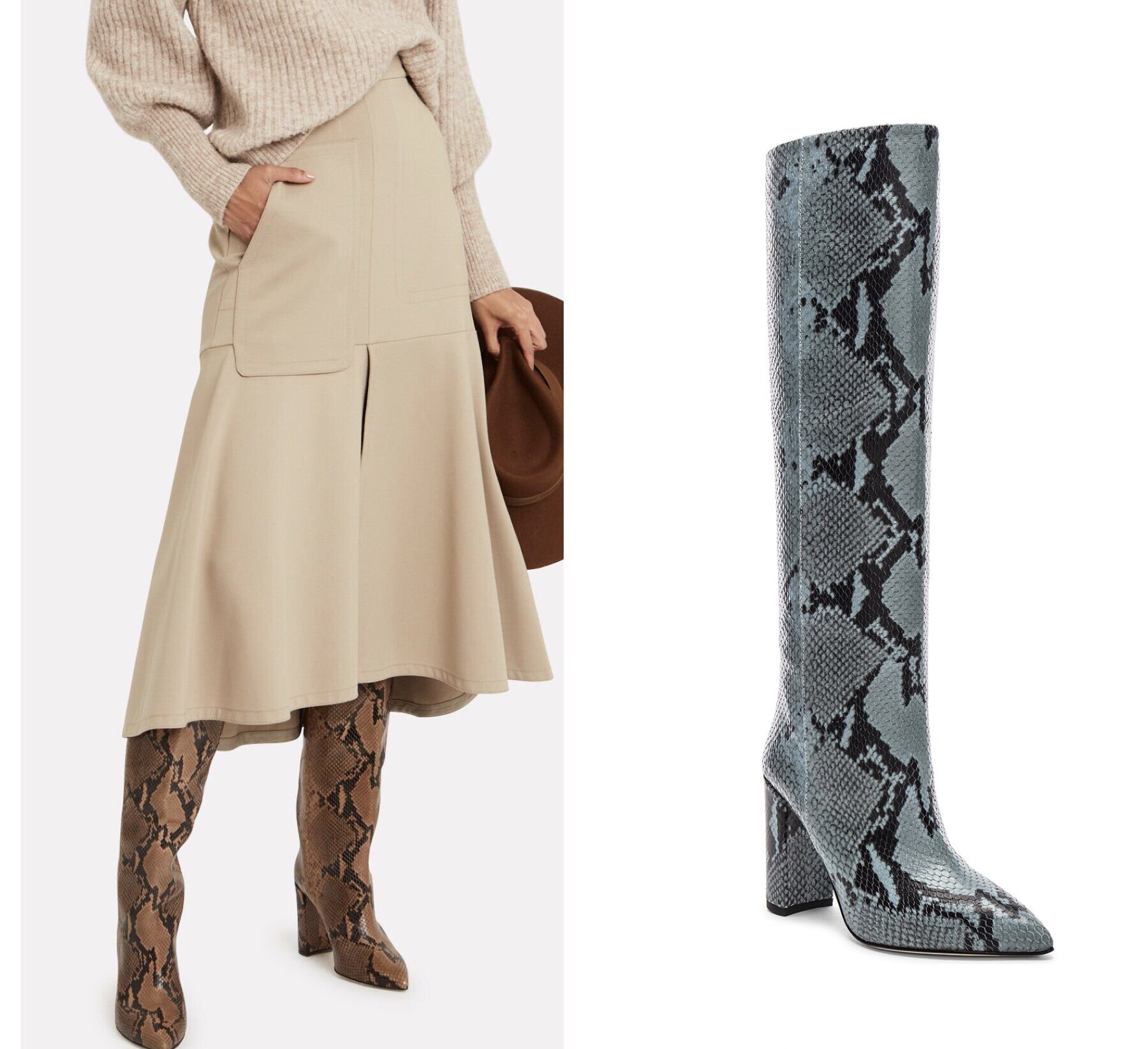 Left:  Python-Embossed Leather Knee-High Boots  Right:  Knee High Python Print Boot