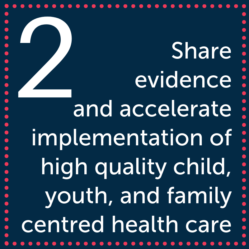 Inform the development of innovative and integrated health systemsShare evidence and accelerate implementation of high quality, child, youth, and family centred health care wherever it is deliveredUnite strategi.png