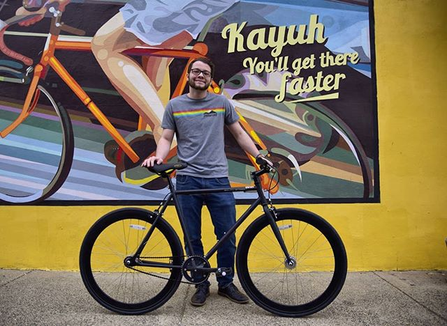 Our bud from Harrisburg @insta_relyks is starting his Friday off the right way by picking up a new whip! Thanks for stopping in and choosing a bike with us! #kayuhbicycles #kayuhcafe #kayuhcrew #northphilly