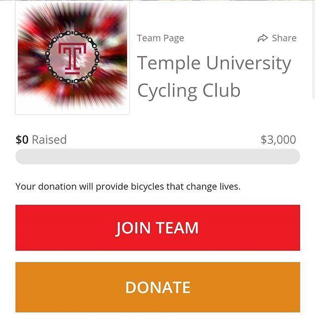Hey all! The president of Temple Cycling, Shelby Wiseman is fundraising for World Bicycle Relief. Do donate through the link: https://give.worldbicyclerelief.org/team/224211