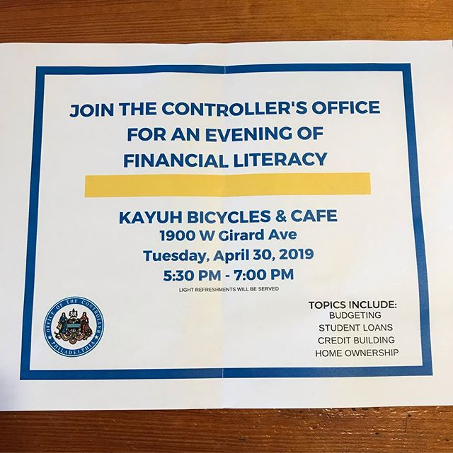 ‼️JOIN US‼️ April 30, 2019. 5:30 PM - 7:00 PM Topics includes: •Budgeting •Student Loans •Credit Building •Home Ownership #finacialliteracy #kayuhbicycles