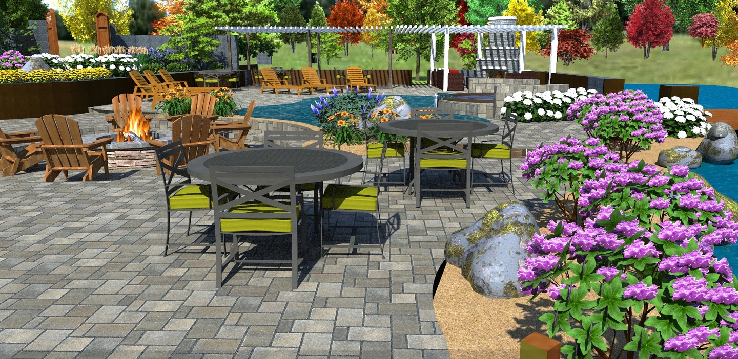 Patio pavers, outdoor fireplace and pool designs in Rocklin, CA