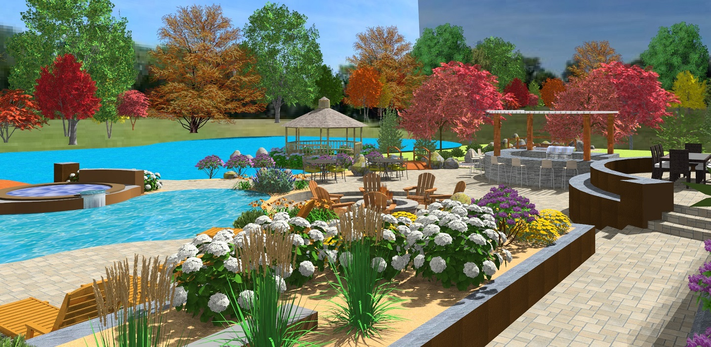Outdoor living area with pool and spa in Rocklin, CA