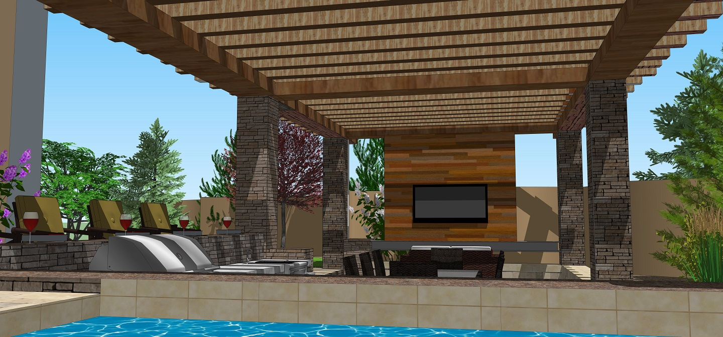 Pergola with outdoor kitchen in Reno, NV