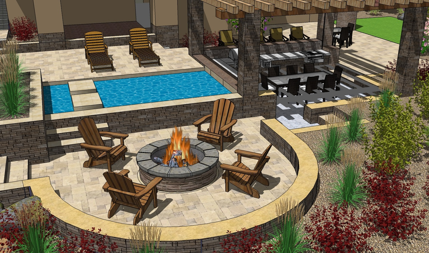 Folsom CA outdoor fireplace with retaining wall
