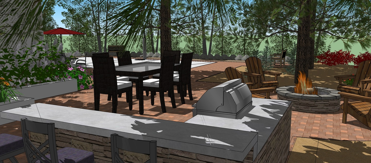 Outdoor kitchen with outdoor fireplace in Rocklin, CA