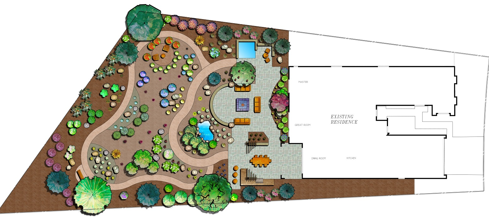 Landscape architecture with outdoor fireplace in Sparks NV