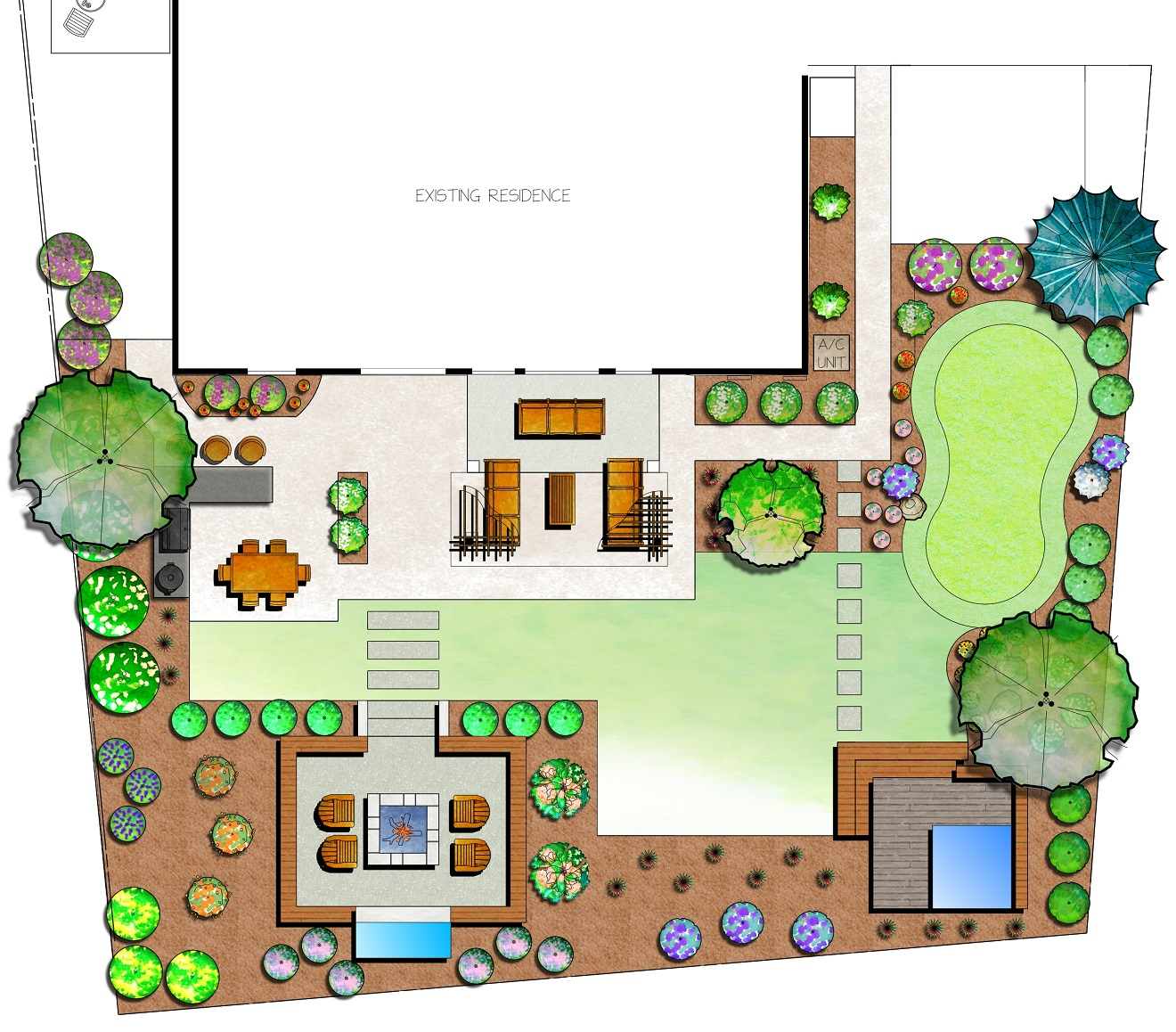 Backyard landscaping with patio and pool designs in Sparks, NV