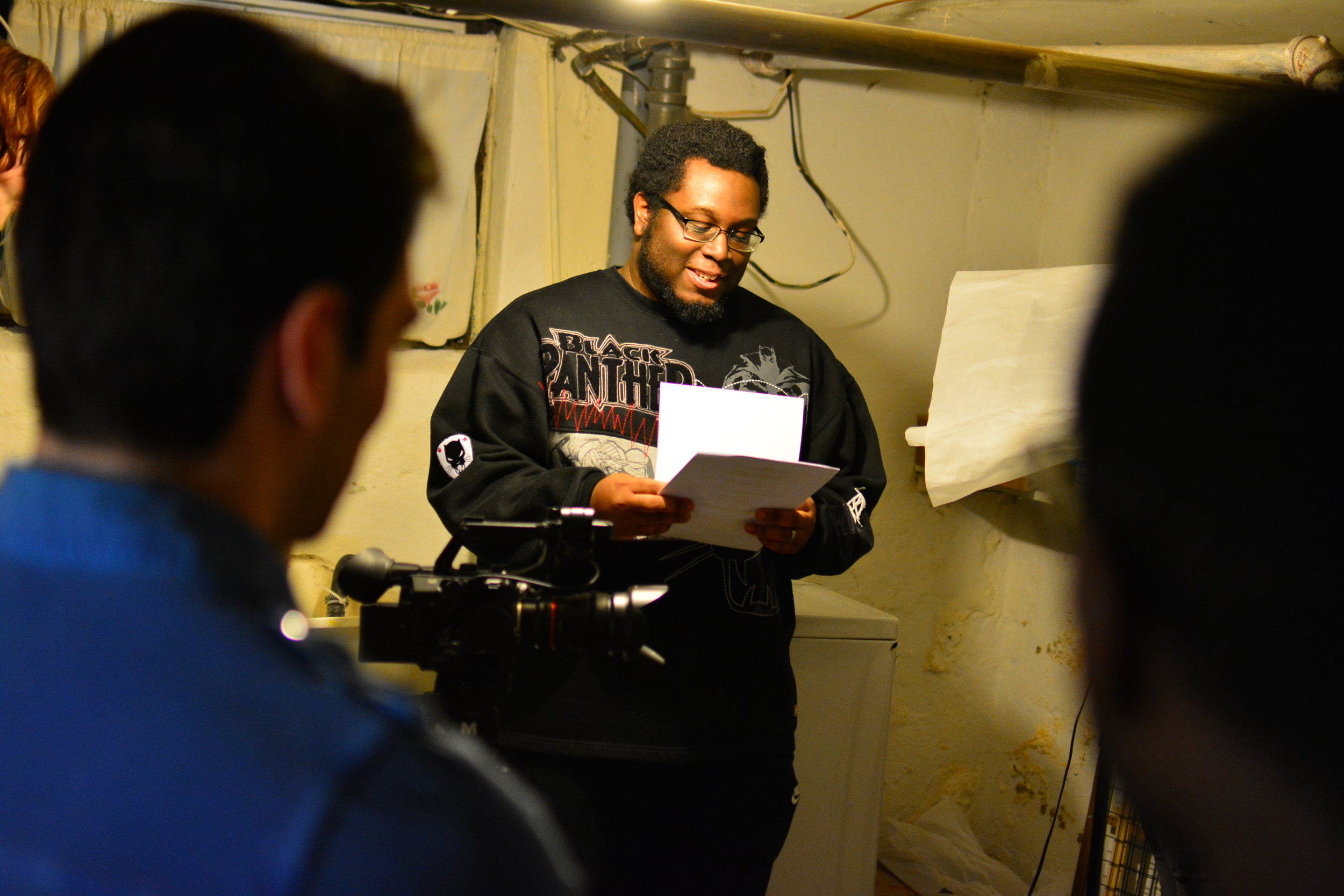 Director Cris Thorne running through a scene for Episode 7