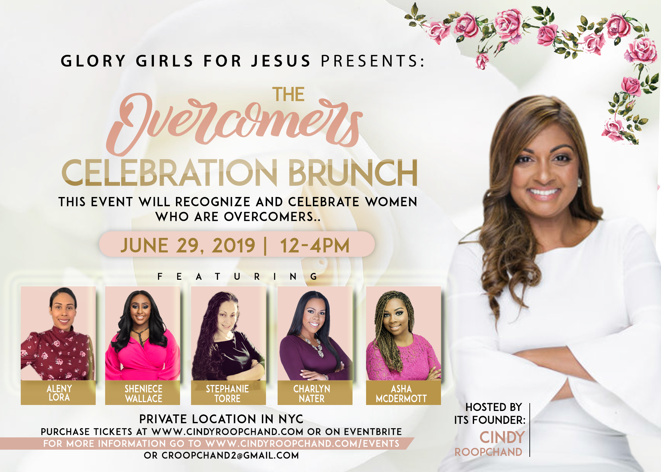 """Glory Girls For Jesus Invites You To Join Us For Our Overcomers Celebration Brunch.    About this Event   Glory Girls For Jesus is all about celebrating women who overcame unfortunate circumstances. In life, we will all encounter difficulties. However, I believe it is in those painful situations that our purpose is birthed. We don't just """"go through things we grow through them"""". We learn from these experiences and become stronger. If you are an overcomer, then you are a Glory Girl and we want to celebrate you! So, come out and celebrate with us!  This event will bring together a panel of powerful women who will share their personal stories of hurt, pain and perseverance to show others they are not alone. We will honor cancer survivors, domestic violence survivors, sexual assault survivors, miscarriage survivors, and single moms etc. This event will provide tips, resources, and strategies to help women become overcomers. Women will connect, network and create a support group. They will discover how to transform their pain into purpose. It will be an afternoon filled with food, love, and laughter. So, invite a friend and join us for this memorable celebration.  The event will feature the Founder of Glory Girls For Jesus Cindy Roopchand. She will be releasing her new book The Keys To Overcoming at the event. She will provide key tips on how to become an overcomer.  Special Guest Speakers:  Aleny Lora The Founder of A Touch From Jehovah Rapha  Shenice Wallace The Founder of ChosenFaces Nonprofit  Stephanie Torre The Youth Leader of Bethel  Charlyn Nater The Founder of House of GEMS Nonprofit  Asha McDermott The Founder of Jesus Life Company Nonprofit  Ticket Includes:  - Entrance to the event at Michael's Waterfront Dining Restaurant  -Brunch Meal : Scrambled Eggs/ Western Omelets/ Home Fries/French Toast/Fresh Fruit Salad/Bagels Cream Cheese and Jelly/ Sausage/Bacon/Virginia Ham/Coffee, Tea, Orange Juice, Apple Juice and Dessert  -Opportunities to Network, Connect, and"""