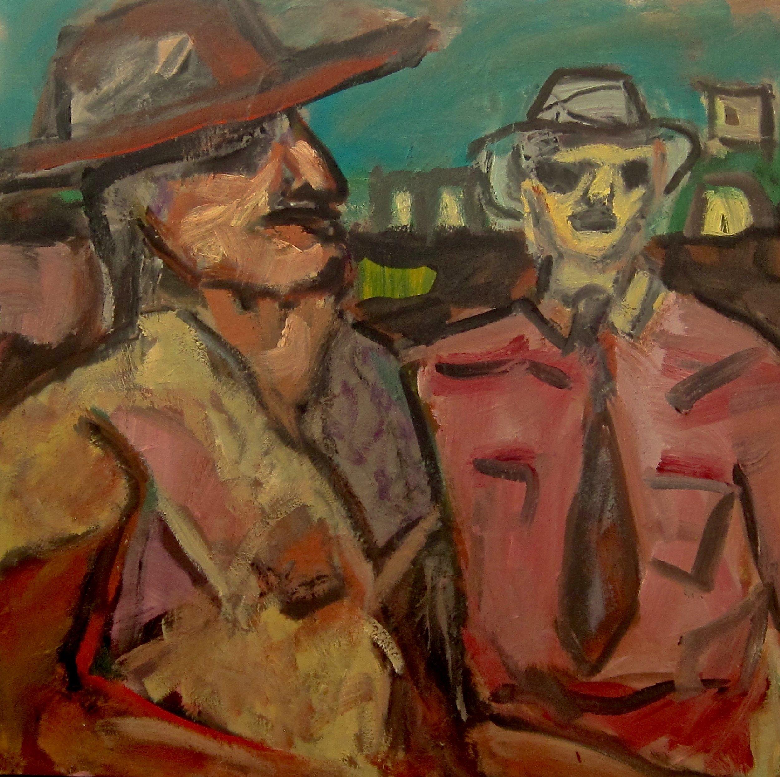 """The Desperado and the Lawman, Oil on Canvas, 48""""x48"""""""