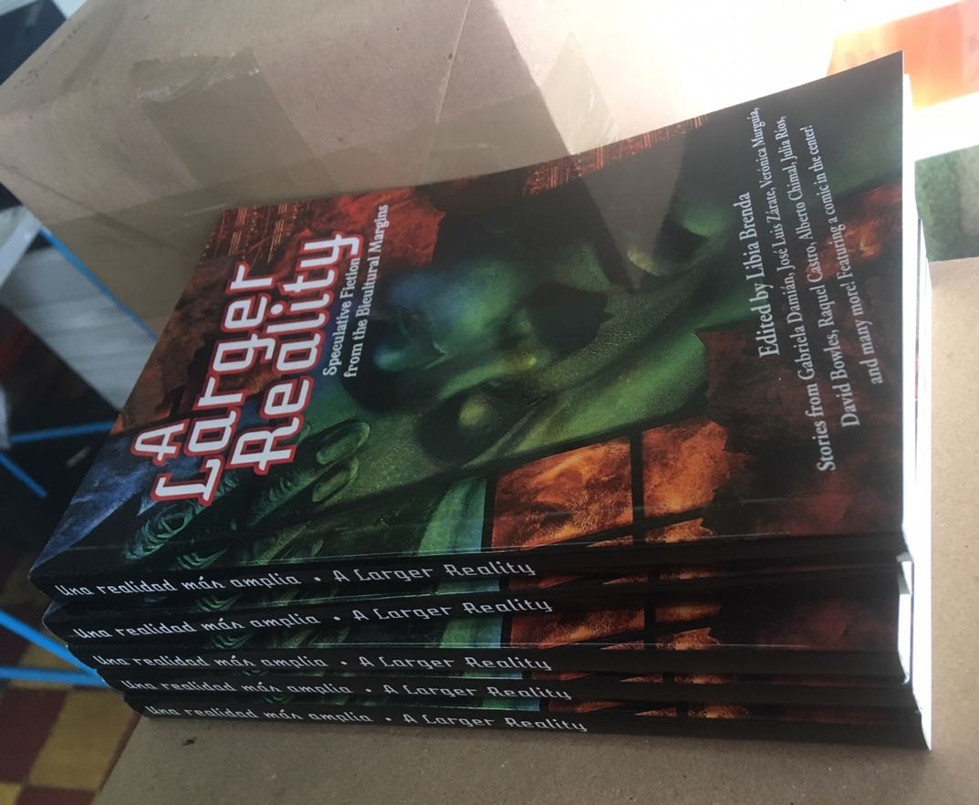Finished copies of A Larger Reality (Photo by Libia Brenda)