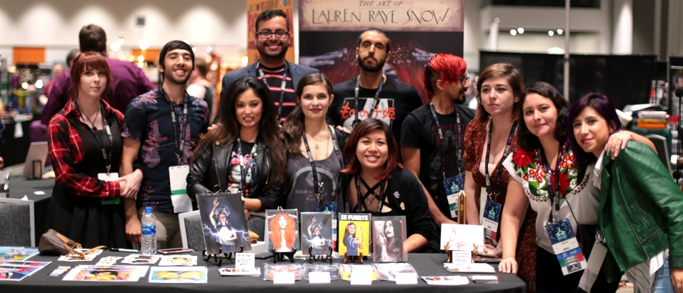 From left to right: Grace Chadwick, Gonzalo Alvarez, Vania Soto, Emmanuel Valtierra, Lauren Raye Snow, Robbie Trevino, Grace P. Fong, Cody Jimenez, Mariana Palova, Dianita Cerón, and Smok at the Mexicanx Initiative booth (Sent by: Dianita Cerón; Photo by Wally Wallace)