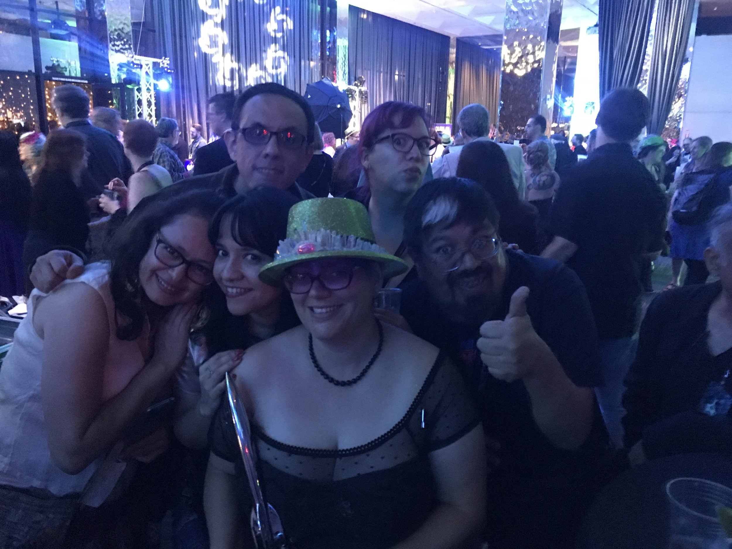 Libia Brenda, Alberto Chimal, Gabriela Damián, Raquel Castro, José Luis Zárate, and Julia Rios at the Hugo Losers party