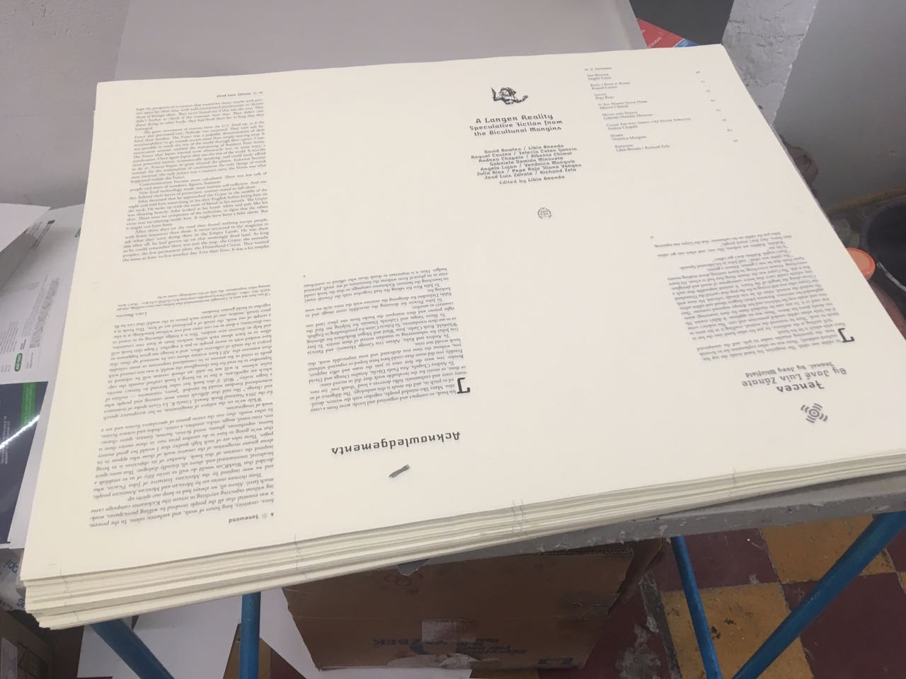 A Larger Reality uncut pages in the middle of book production