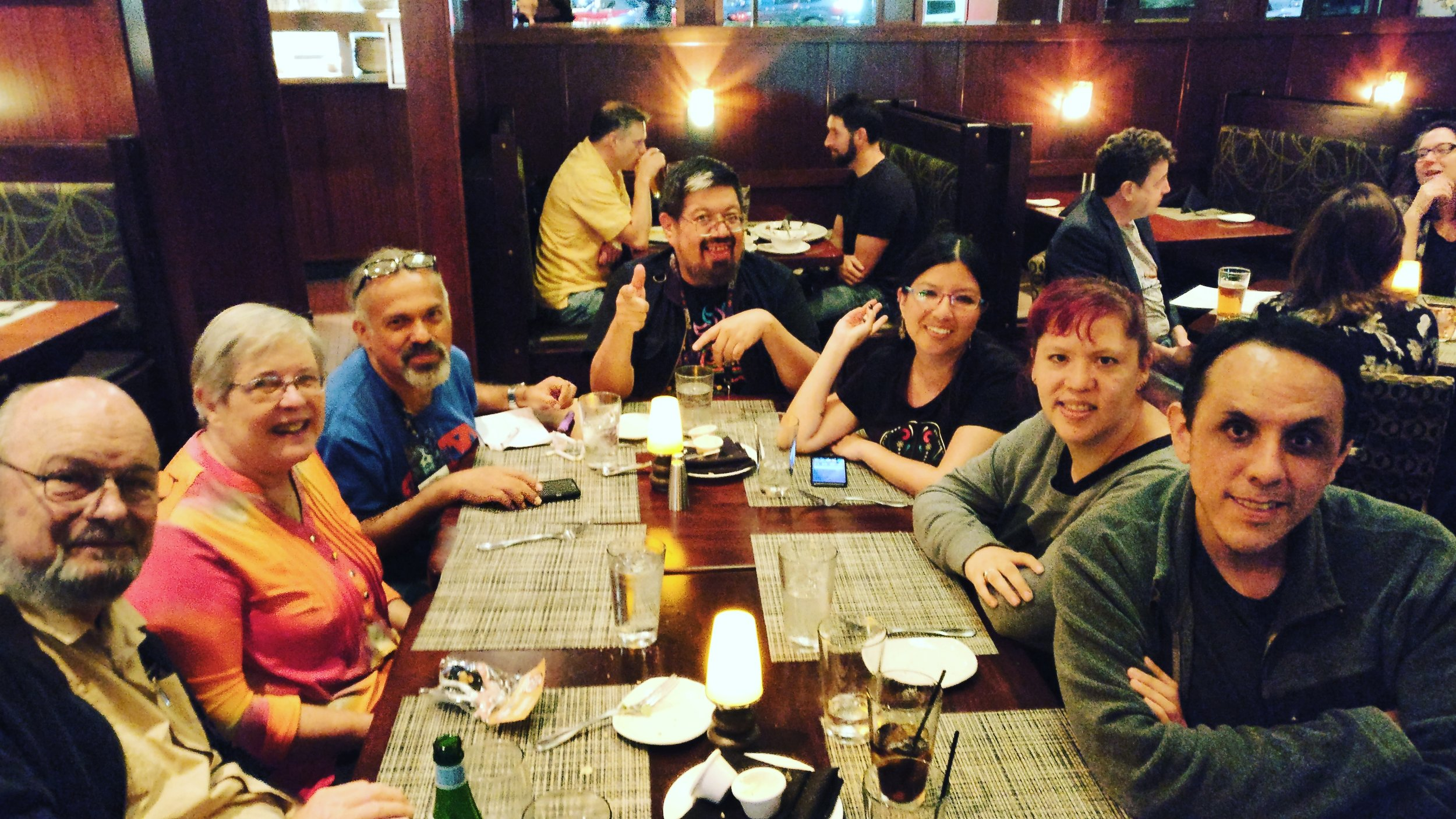 Joe and Gay Haldeman, Gerardo Horacio Porcayo, José Luis Zárate, Iliana Vargas, Raquel Castro, and Alberto Chimal at dinner