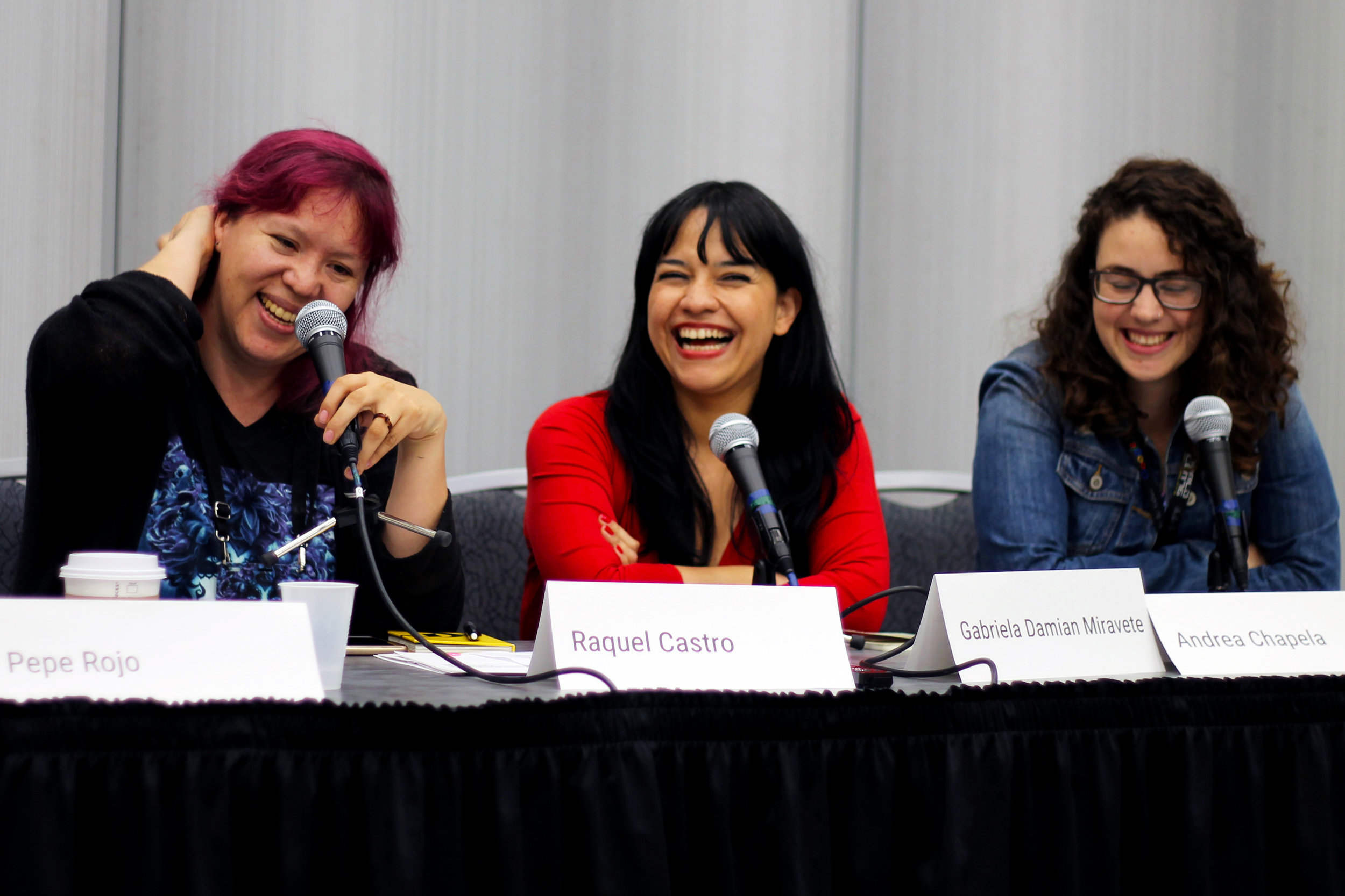 Raquel Castro, Gabriela Damián, and Andrea Chapela on the Mexican Female Horror Writers panel Sent by Julia Rios; photo by Kateryna Barnes)