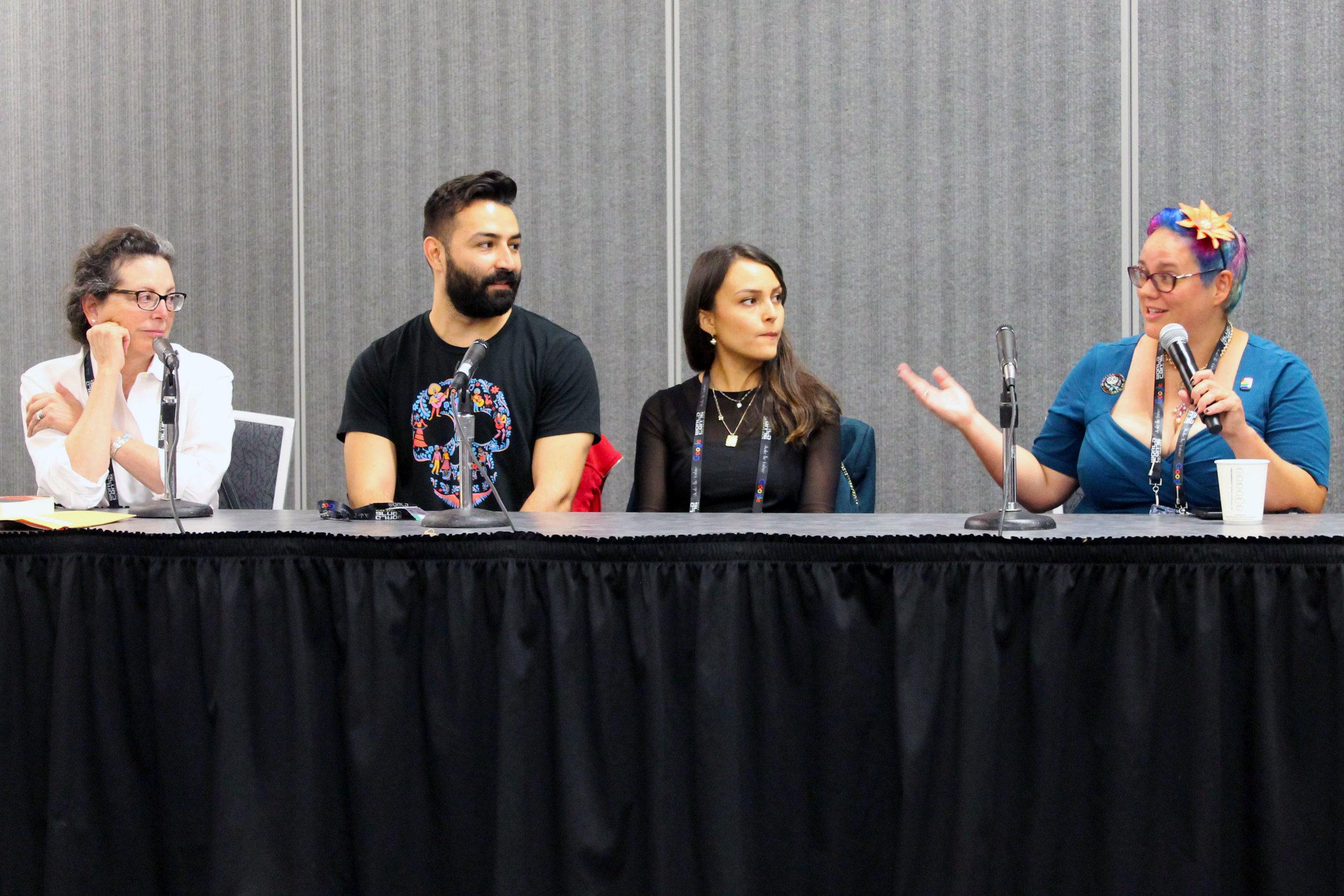 Marcela Davison Avilés, Adrian Molina, Ana Ramirez, and Julia Rios at the Making of Coco panel (Sent by Julia Rios; photo by Kateryna Barnes)
