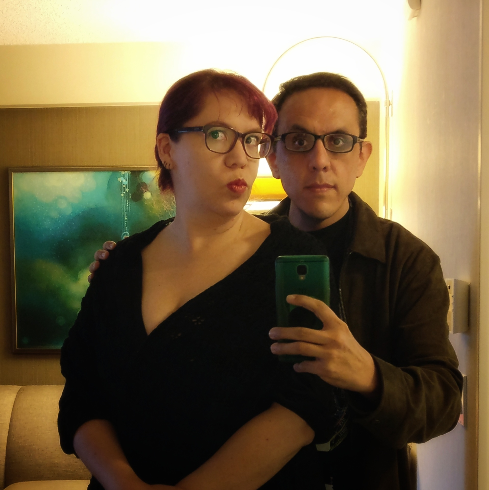 Raquel Castro and Alberto Chimal ready for Hugo night (Photo by Alberto Chimal)