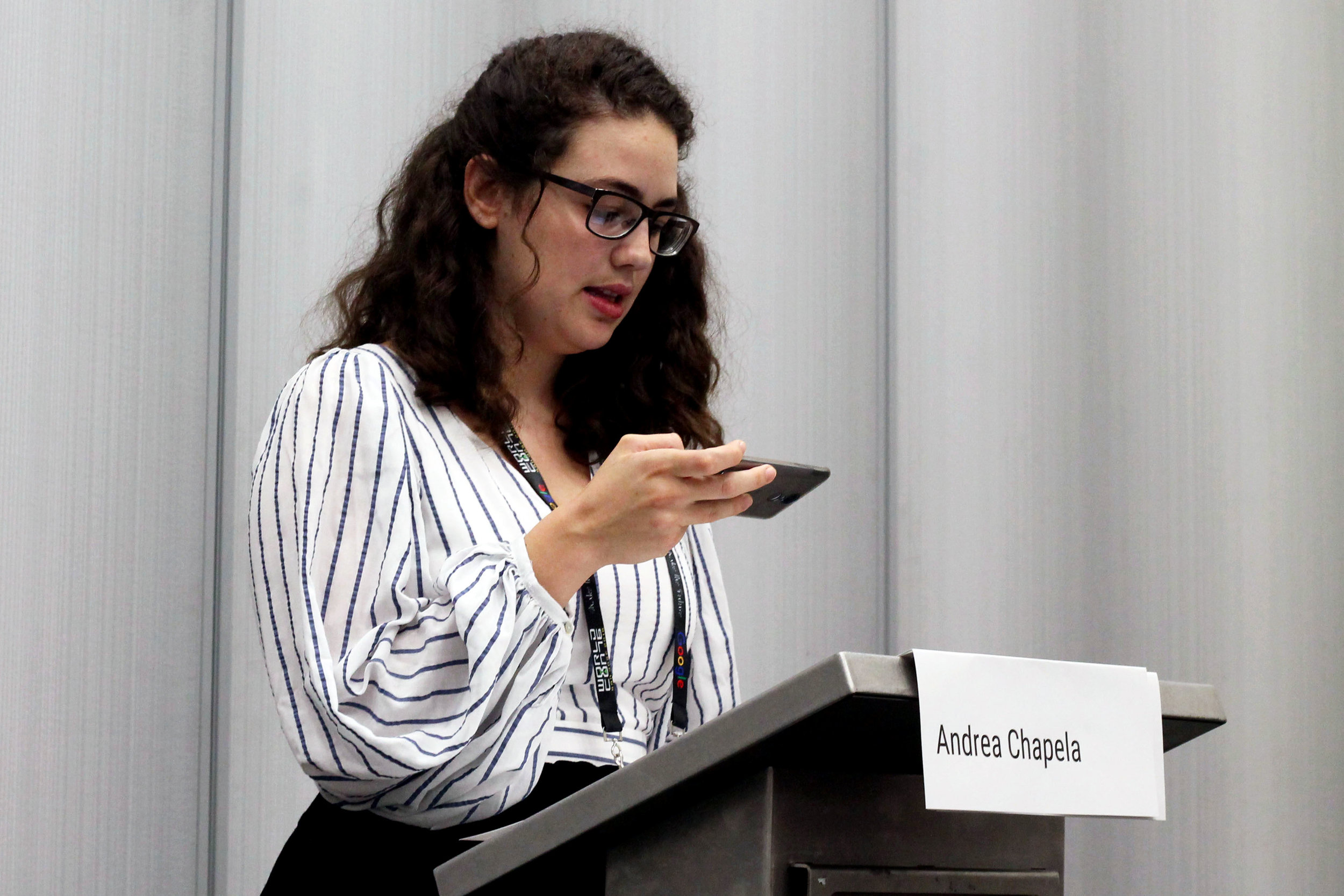 Andrea Chapela at the Mexicanx Initiative English language group reading (Sent by Julia Rios; photo by Kateryna Barnes)