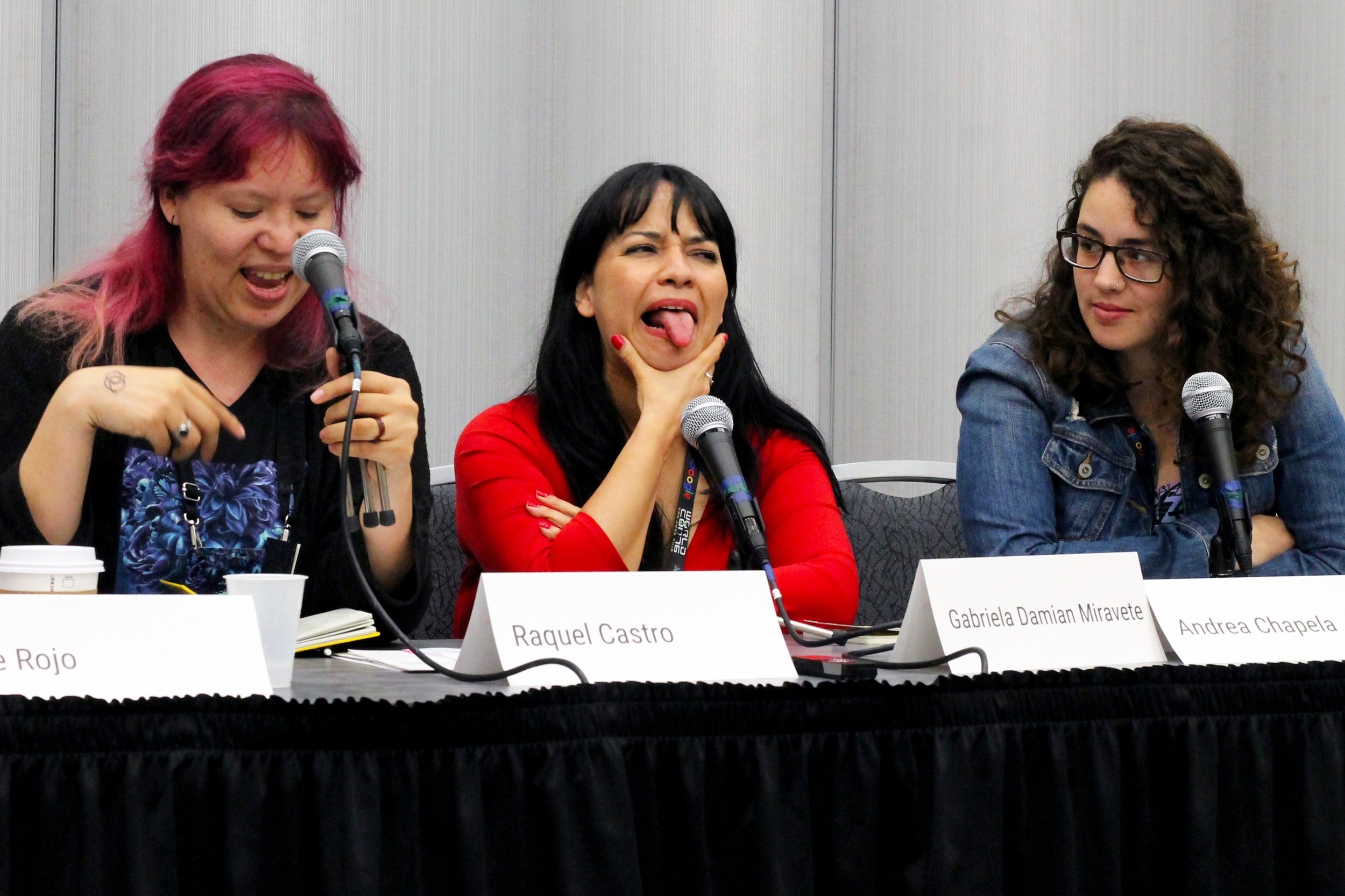 Raquel Castro, Gabriela Damián, and Andrea Chapela on the Mexican Female Horror Writers panel (Sent by Julia Rios; photo by Kateryna Barnes)