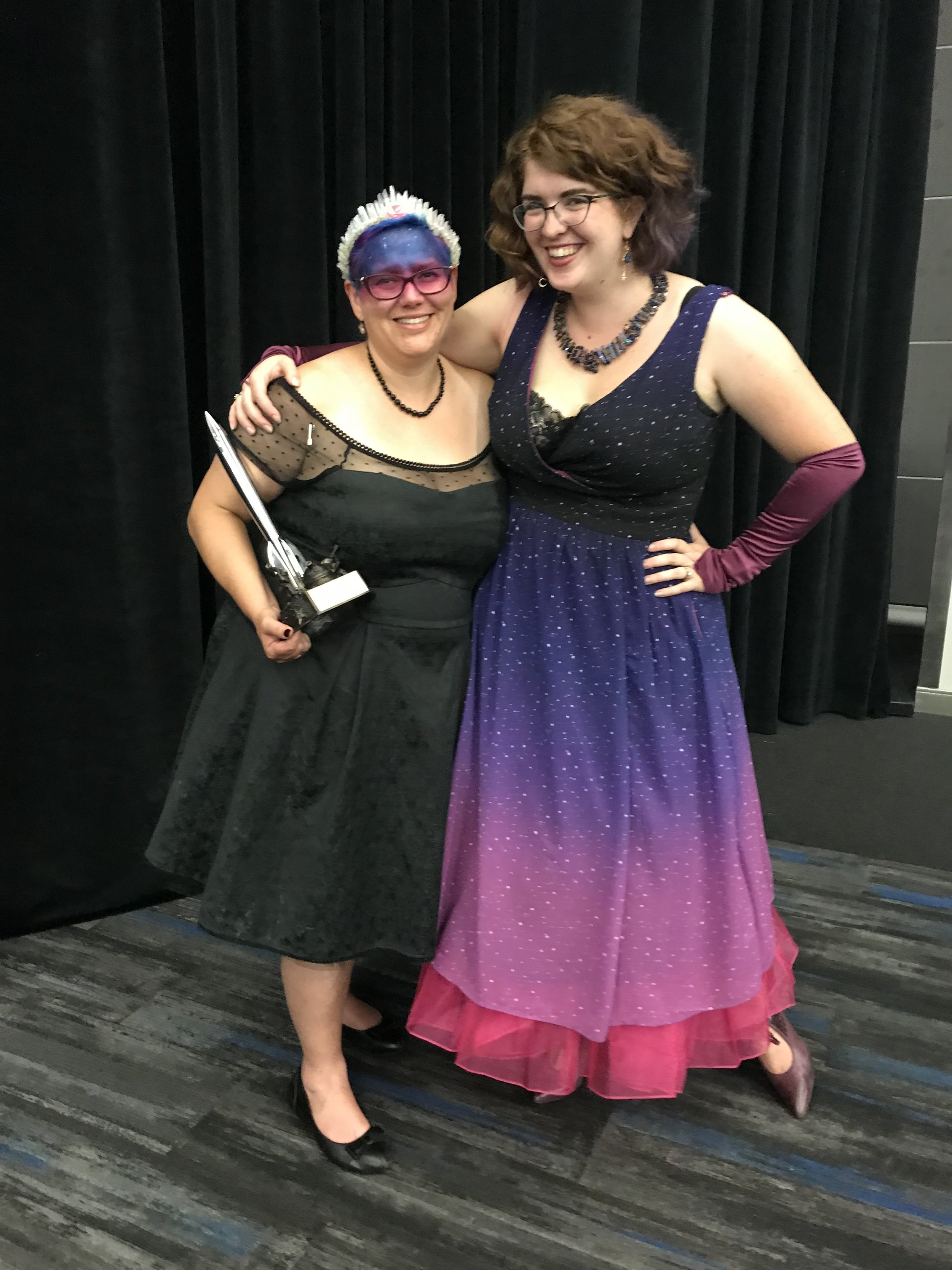 Julia Rios and Alyshondra Meacham after the Hugo Awards at Worldcon 76 (Photo by Anonymous on Julia's phone)