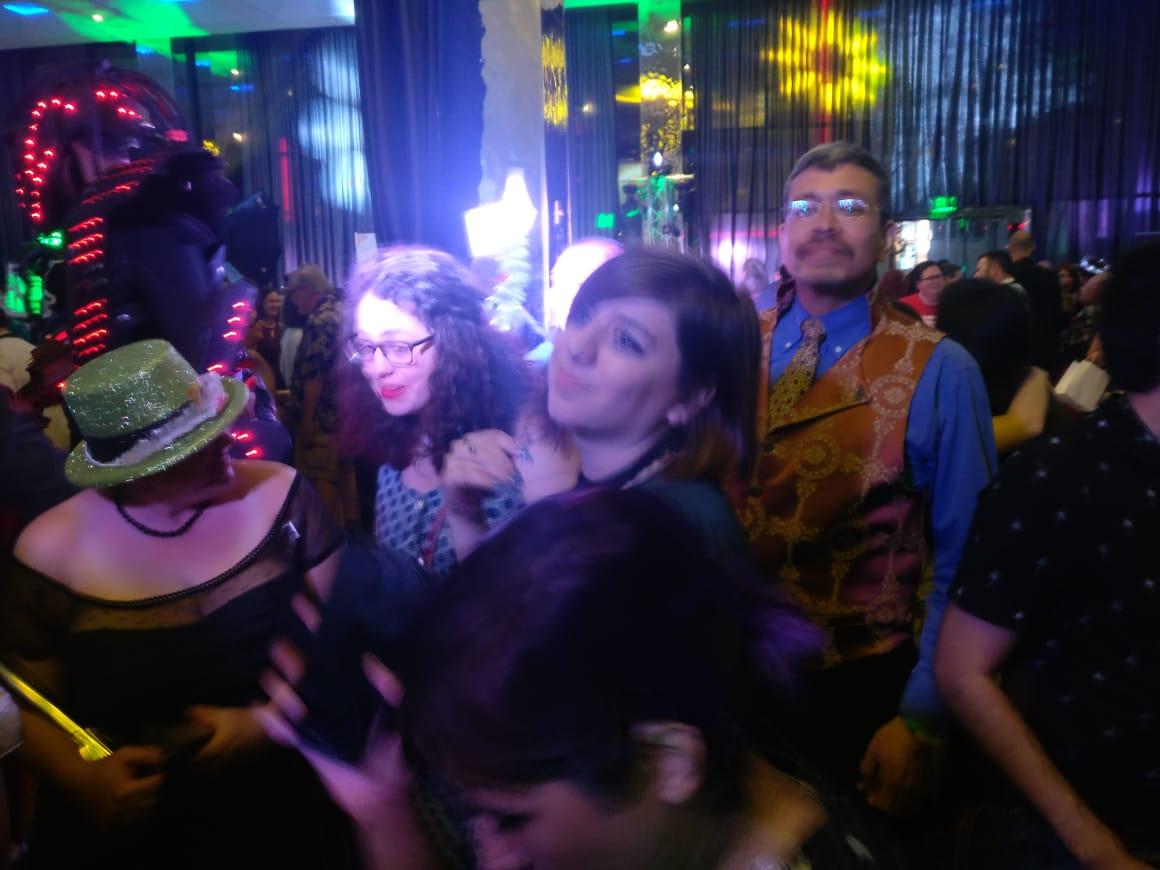 Julia Rios, Andrea Chapela, Mariana Palova, and Héctor González at the Hugo Losers Party(Photo by Alberto Chimal)