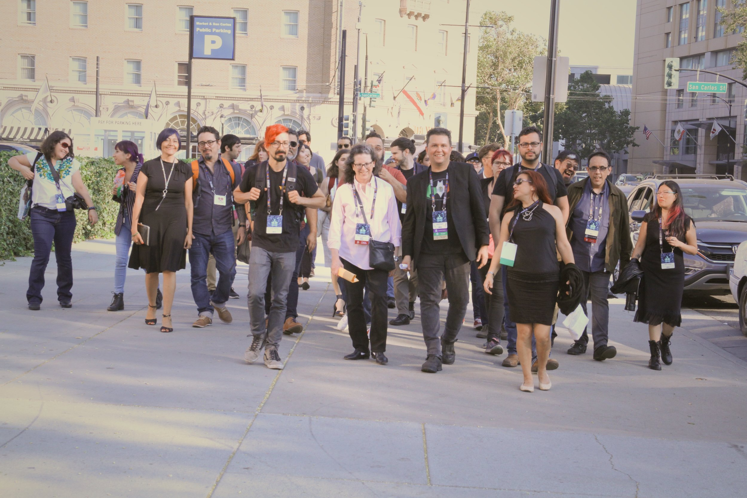 Mexicanx Initiative participants walking as a group in San Jose (Copyright 2018 Richard Canfield)