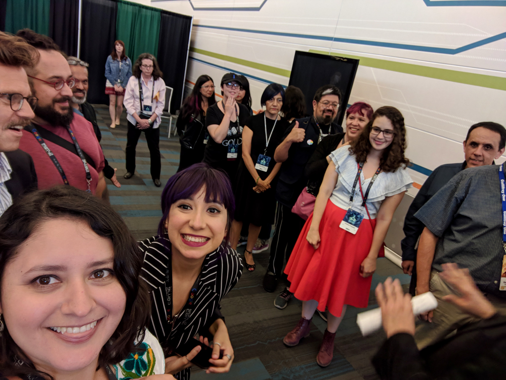 Mexicanx Initiative participants gathering backstage before the Worldcon 76 opening ceremonies (Photo by Dianita Cerón)