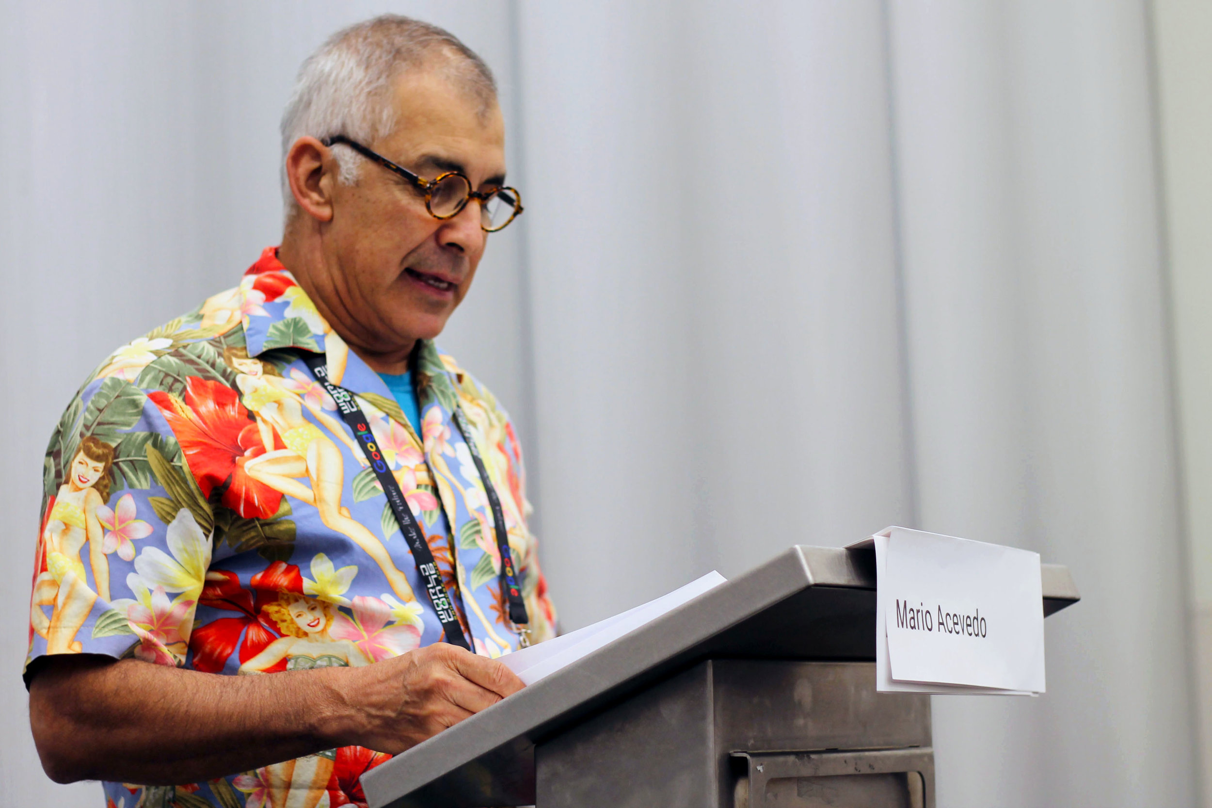 Mario Acevedo at the Mexicanx Initiative English language group reading (Sent by Julia Rios; photo by Kateryna Barnes)