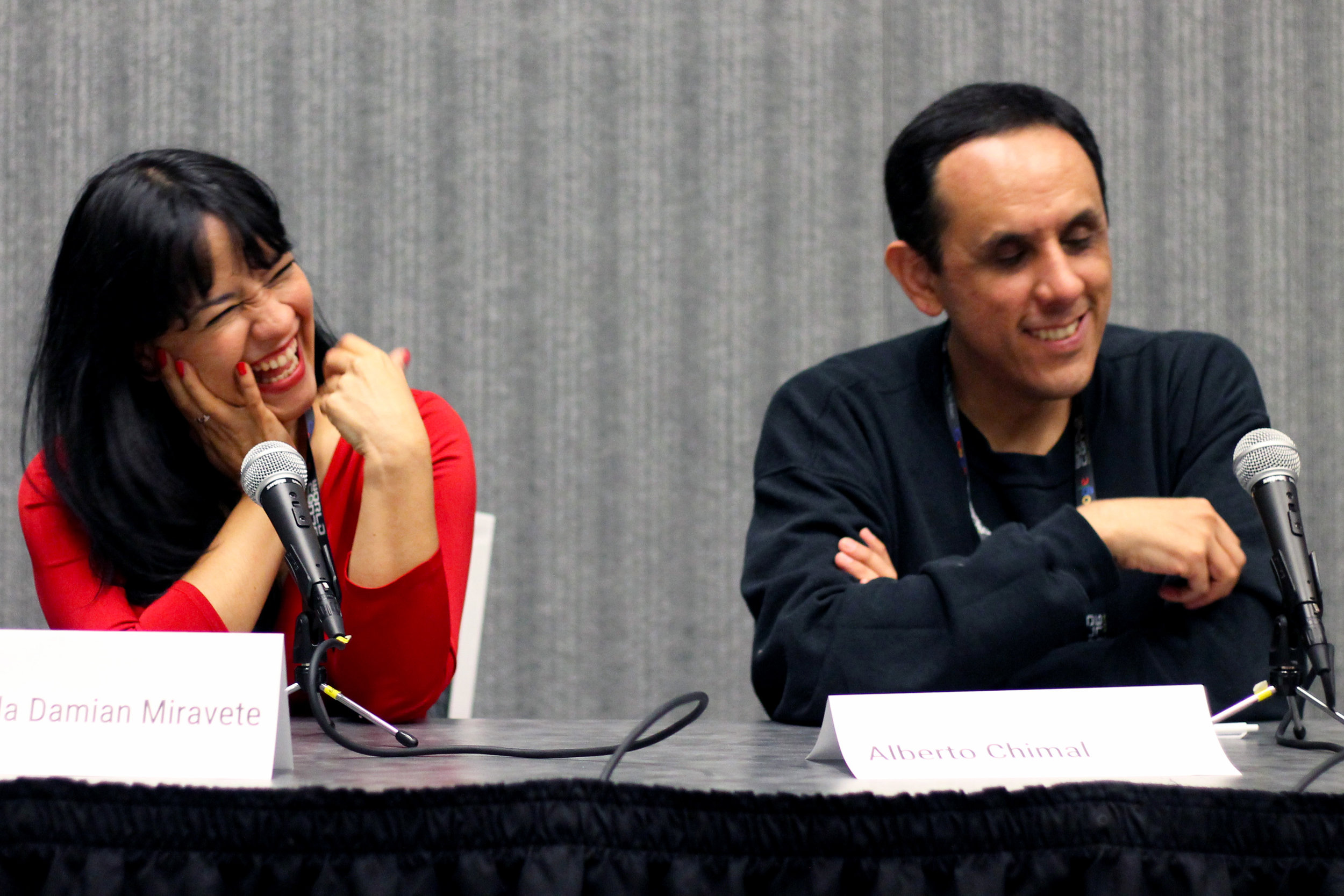 Gabriela Damián Miravete and Alberto Chimal at the history of Mexicanx Sci-Fi panel (Photo by Julia Rios)