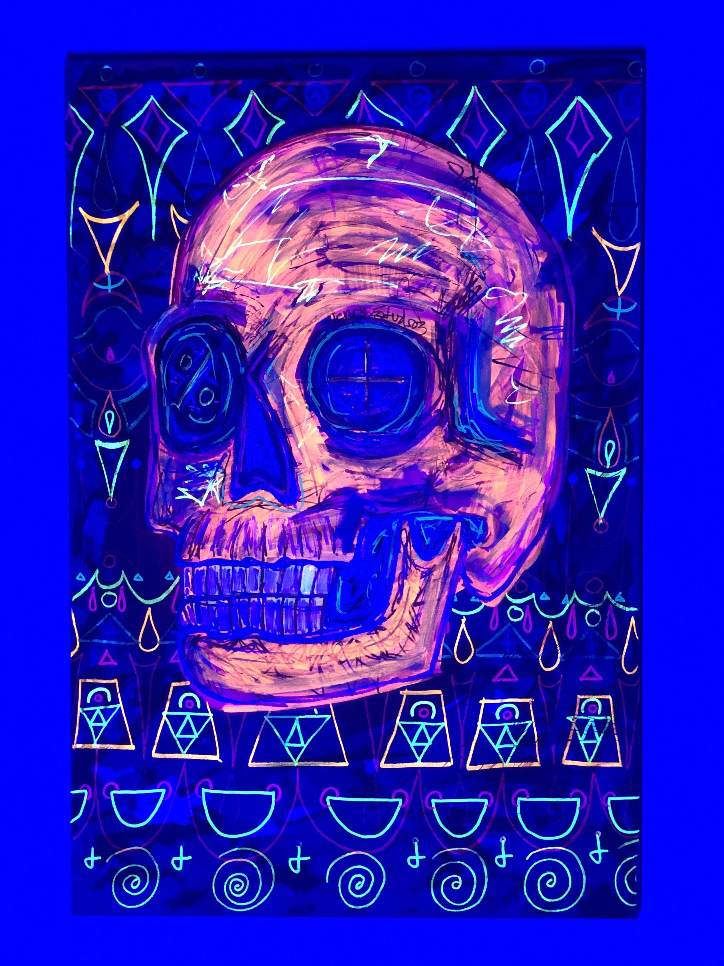 Title: Skull (Black-lit)