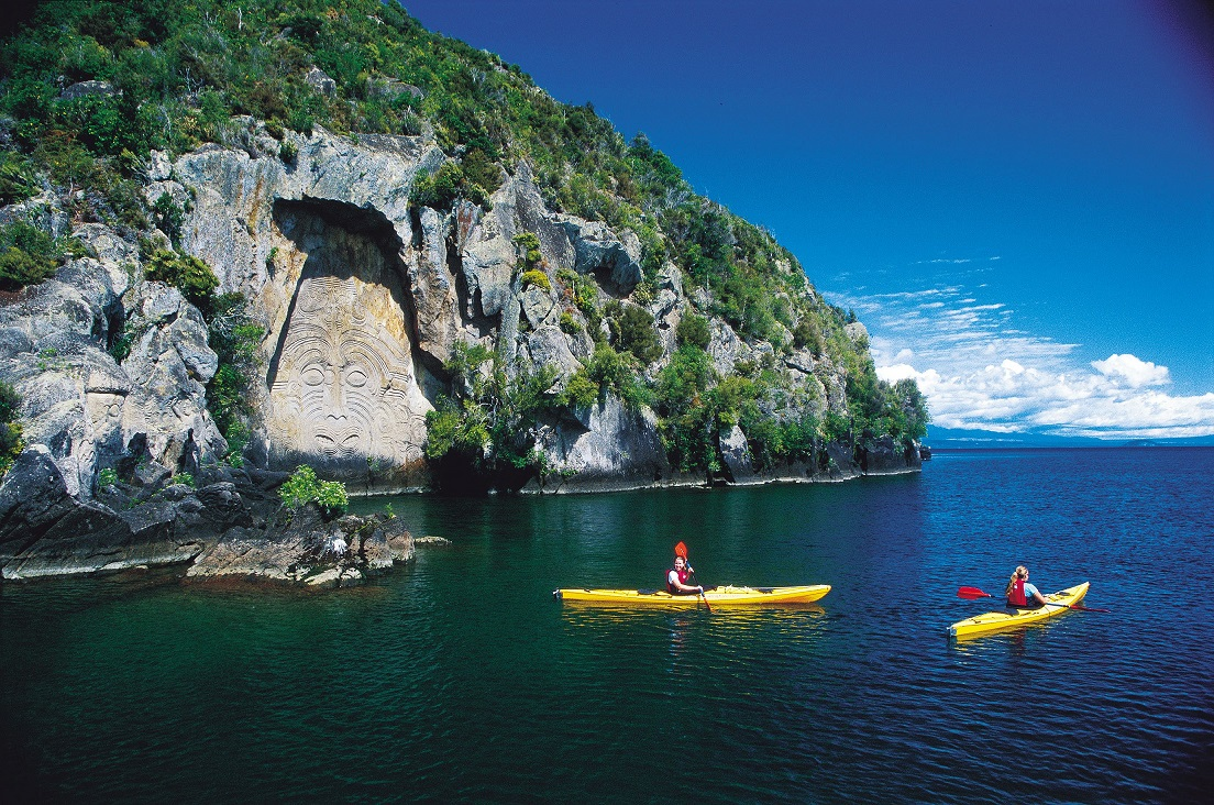 Viewing the Mine Bay Maori Rock Carvings on Lake Taupo by kayak.jpg