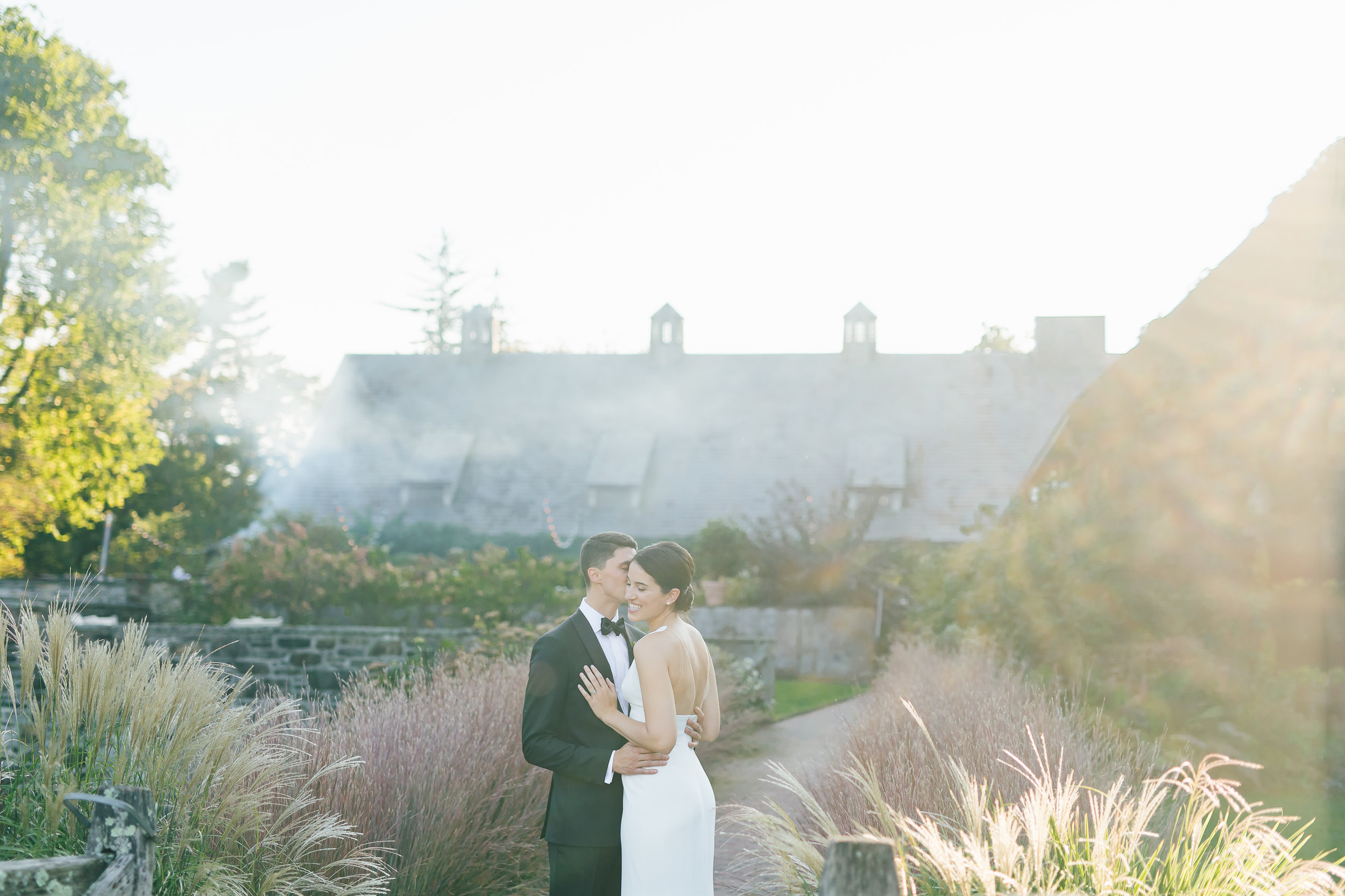 bride and groom blue hill stone barn wedding_CT wedding photographer