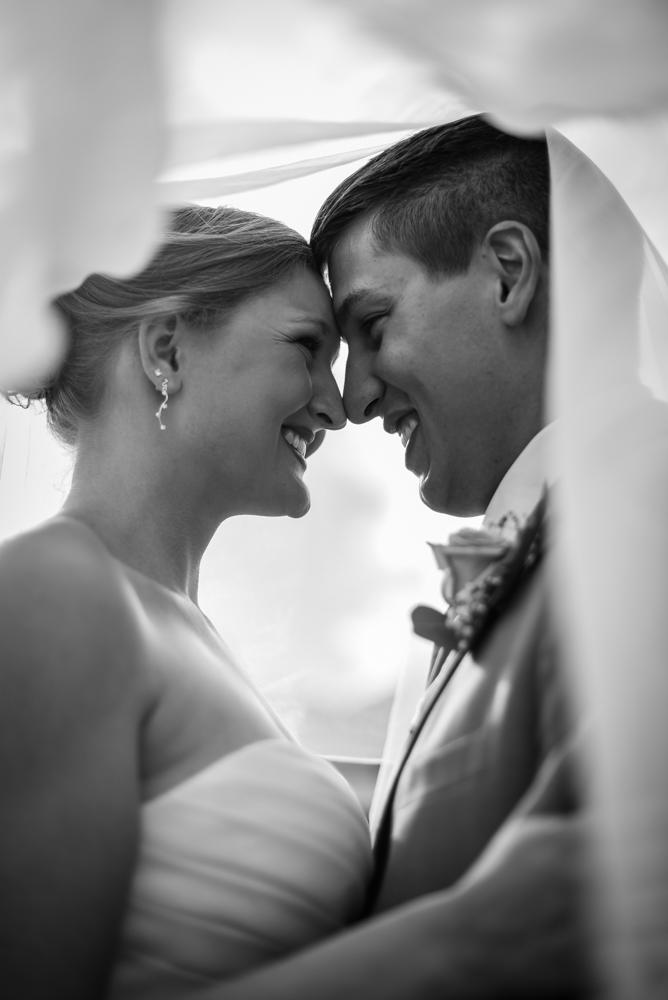 Bride and groom wedding photography under veil