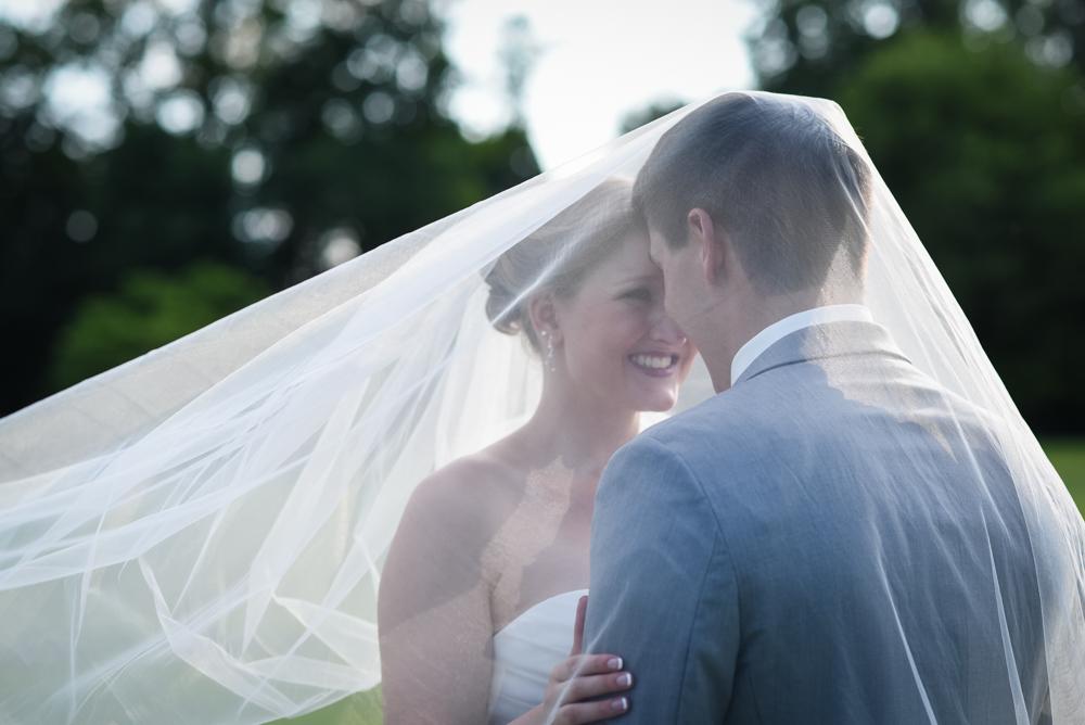 bride and groom wedding photo, couple under veil