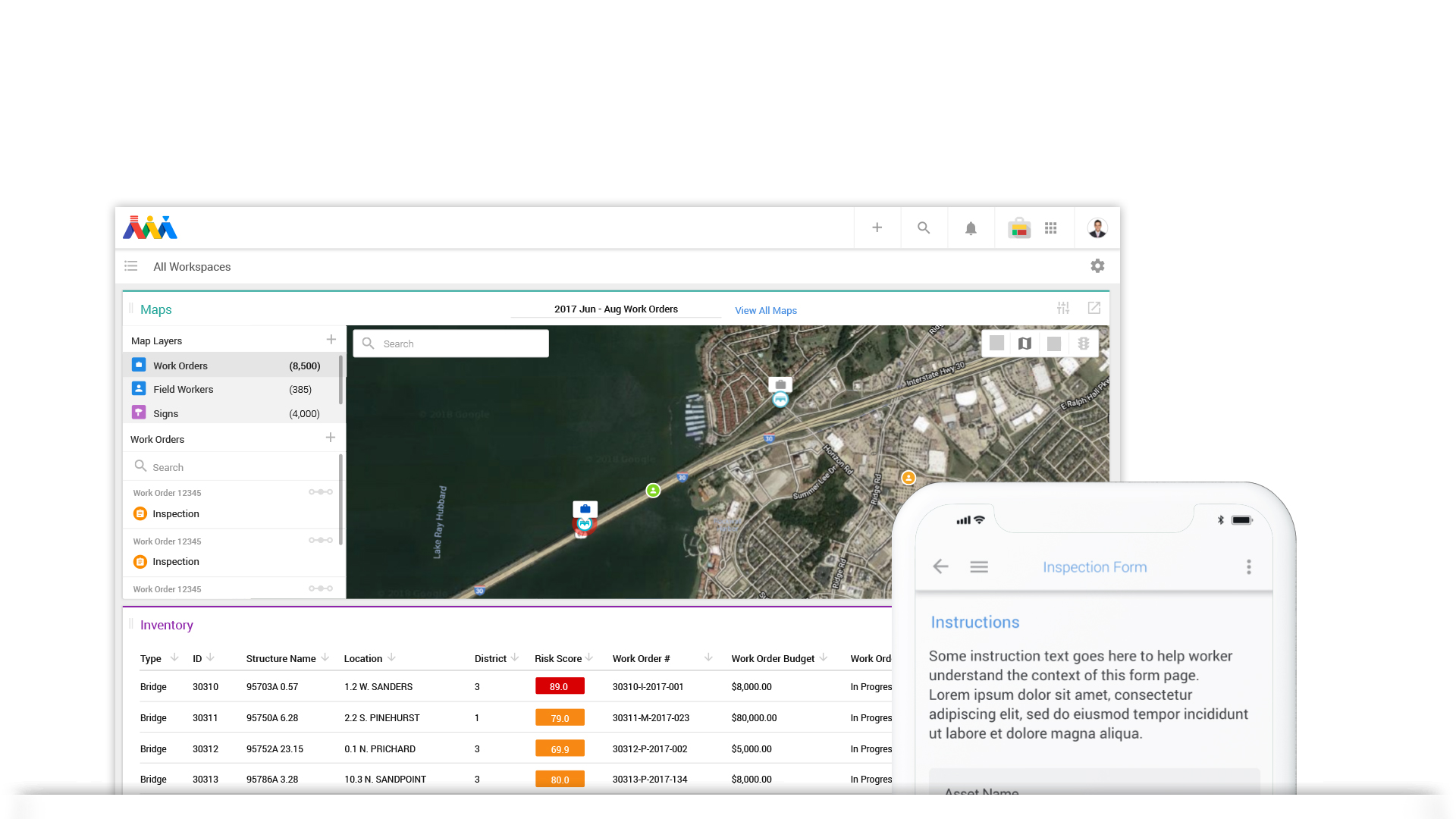 Inspections - The Atom team has enabled some of the largest rail and transit organizations in the world to effectively inspect rail-specific information. Users can quickly and easily link images to different information as well as give a specific score tied to that information.