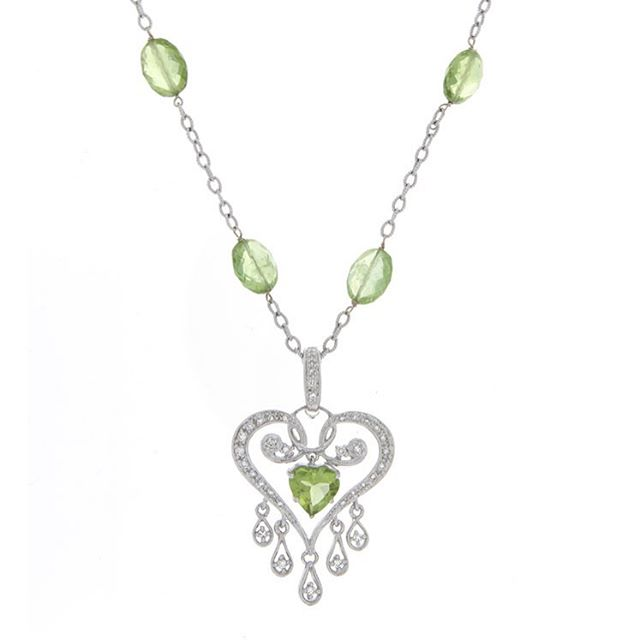 Add this to your chick summer accessories list #celladesigns #gemstones #diamonds #heart #love #necklace #pendant #sapphire #green #summervibes #madeinla #oneofakind