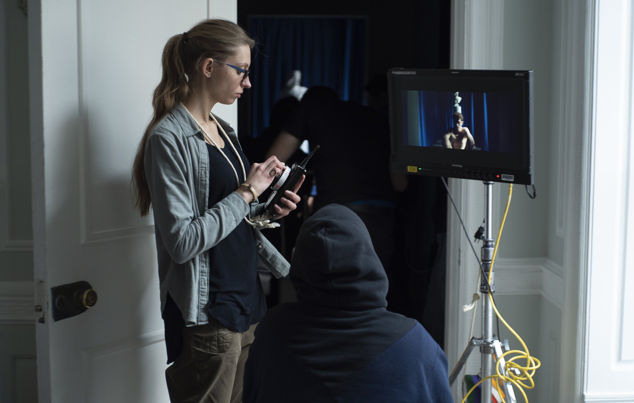 First Assistant Camera, Asia Khmelova, working on Joseph Longo's set in USA