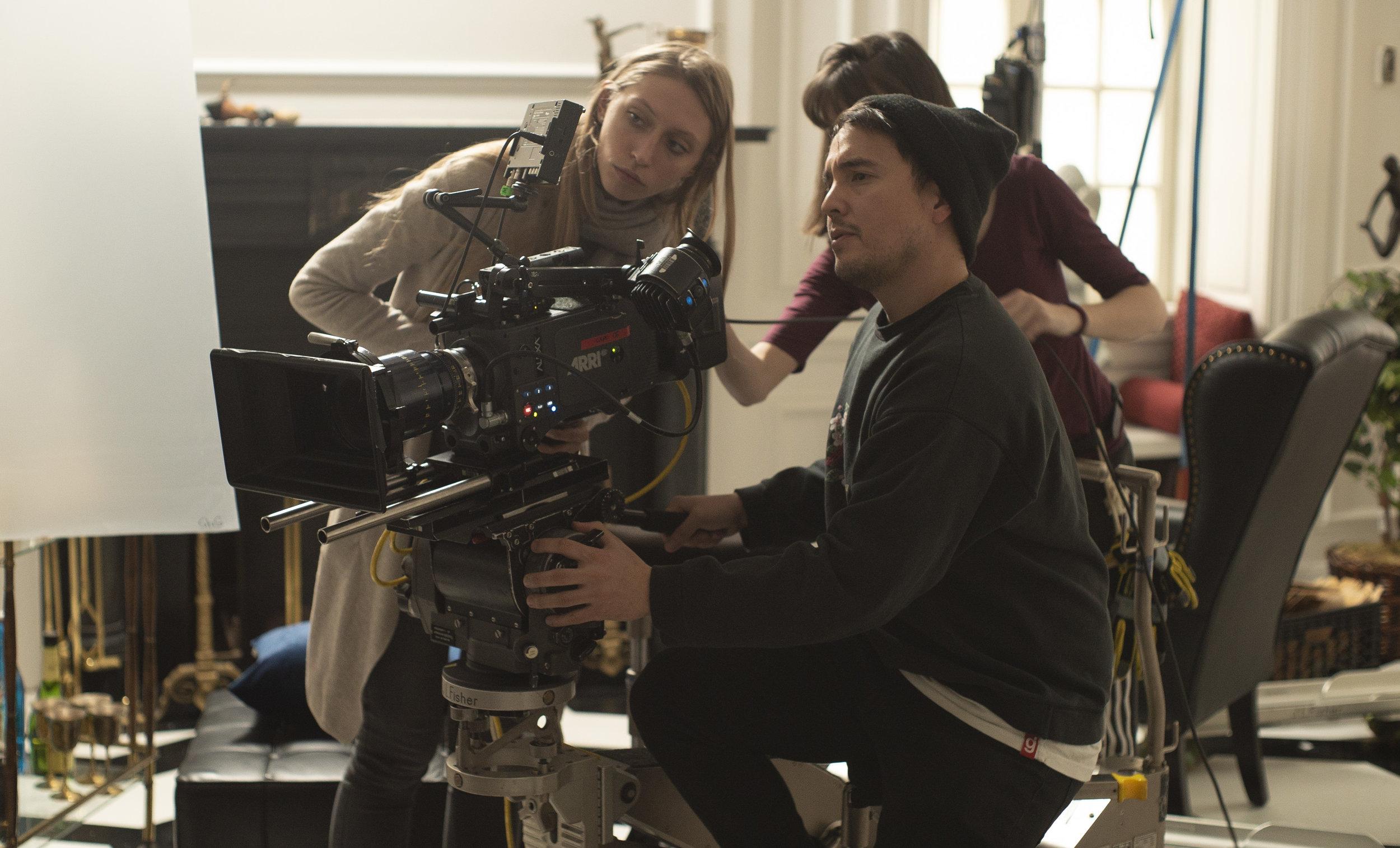 Camera team working on Joseph Longo's set in USA