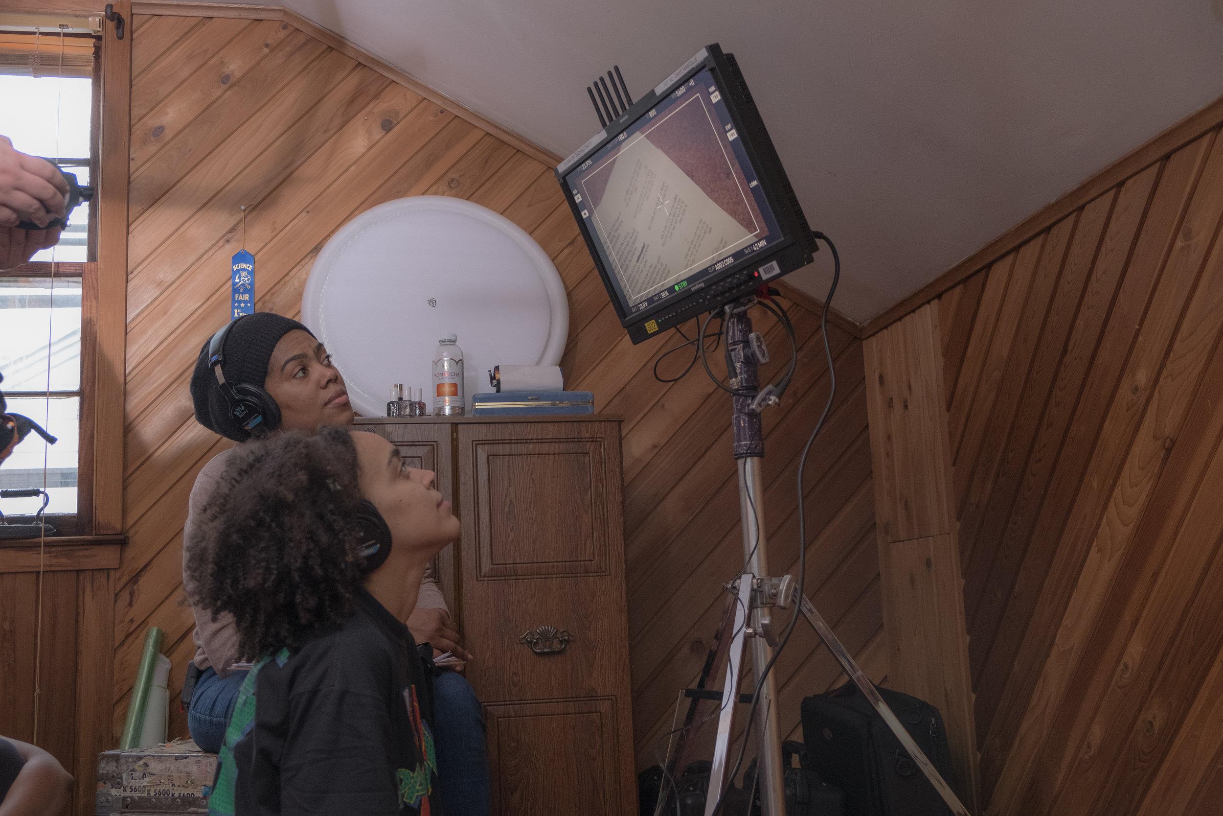 Rachel Gordon watching monitor on set