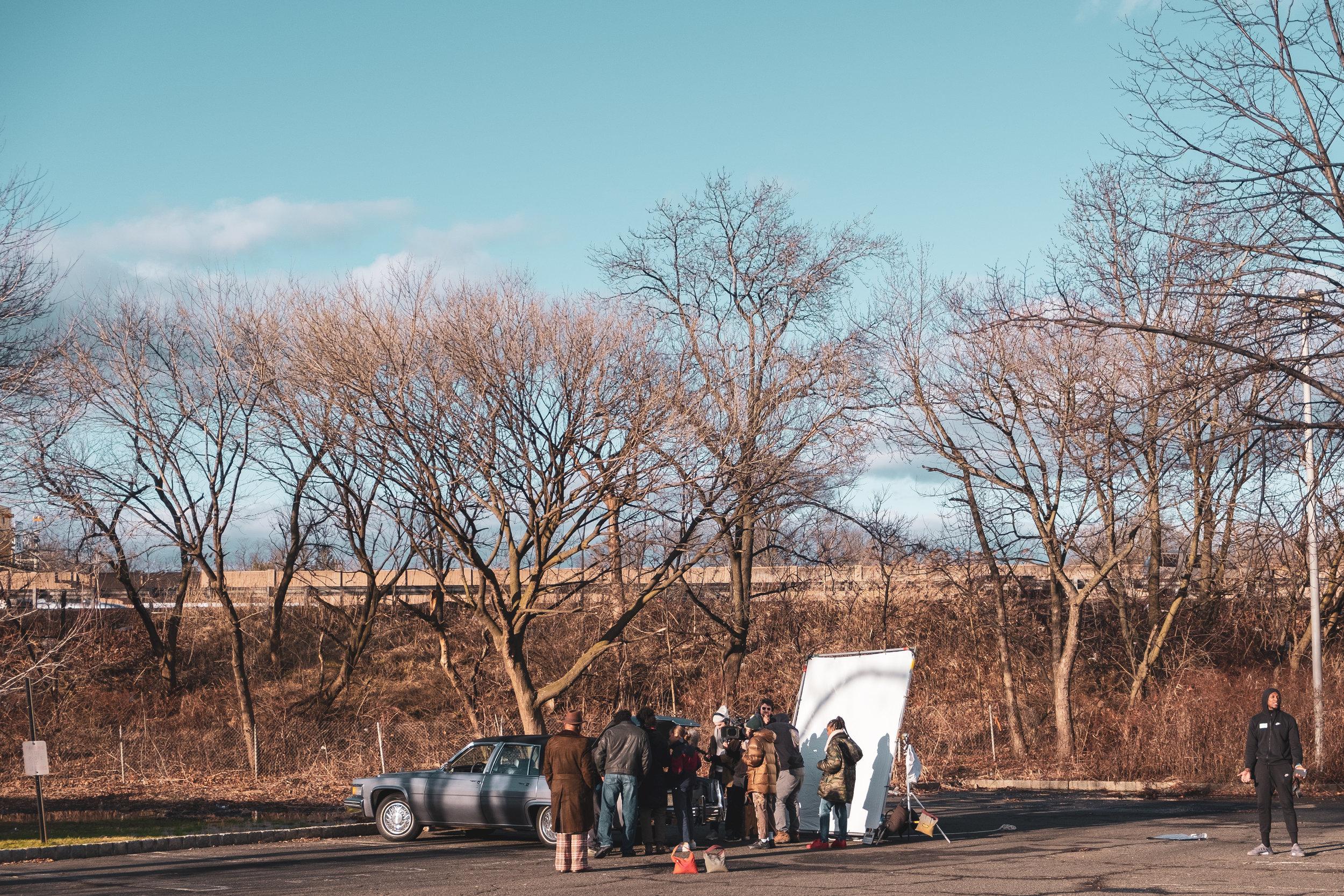 Crew working on Rachel Gordon's set in USA