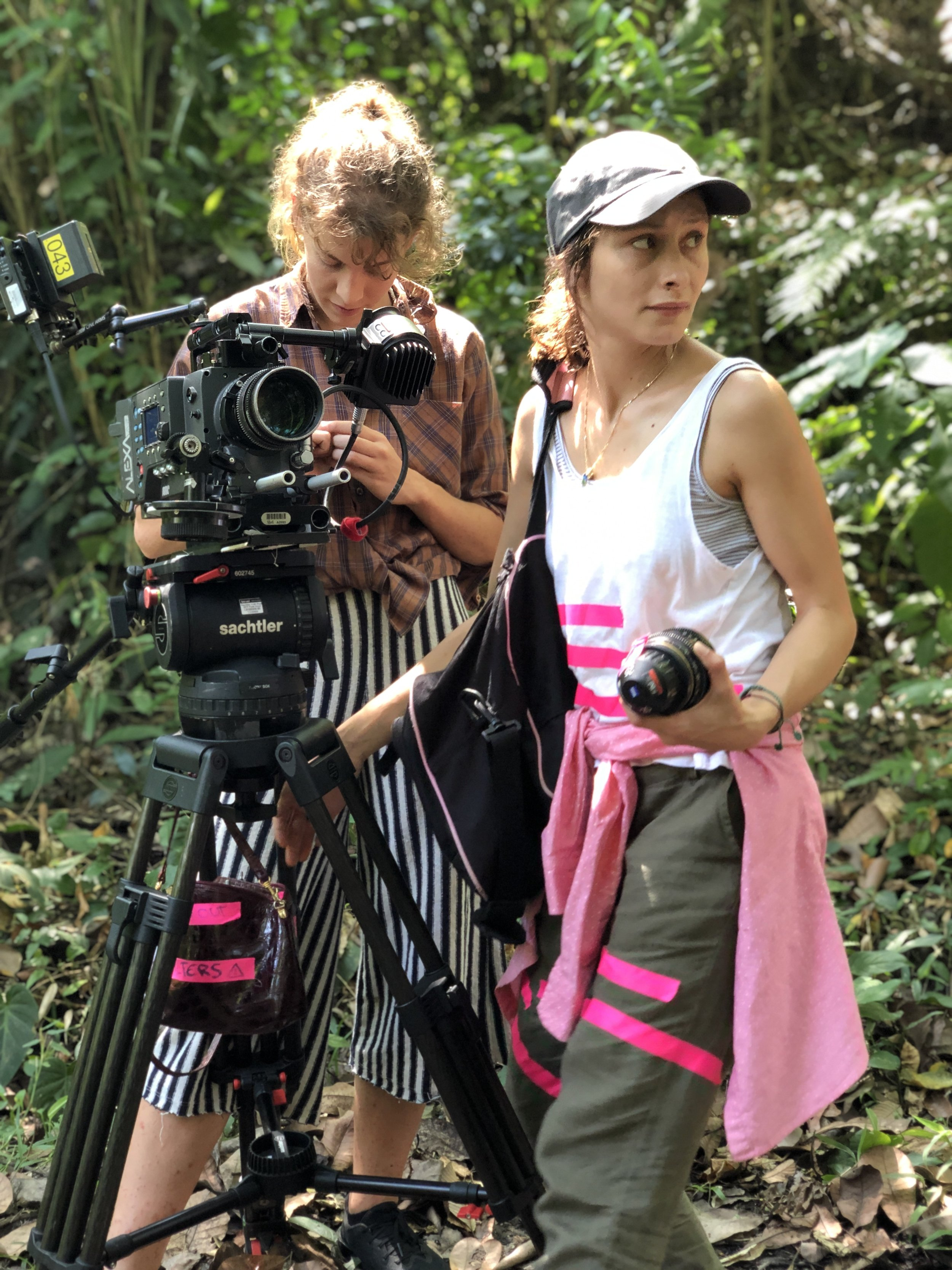 DP Gianna and AC Clara working on Sofia Camargo's set in Colombia