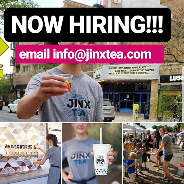 Now hiring fun & motivated tea-tenders for our 4503 France  Ave S, Minneapolis tea bar. Email info@jinxtea.com if interested. #tellafriend #jinxtea #tea #minneapolis #lindenhills #50thandfrance
