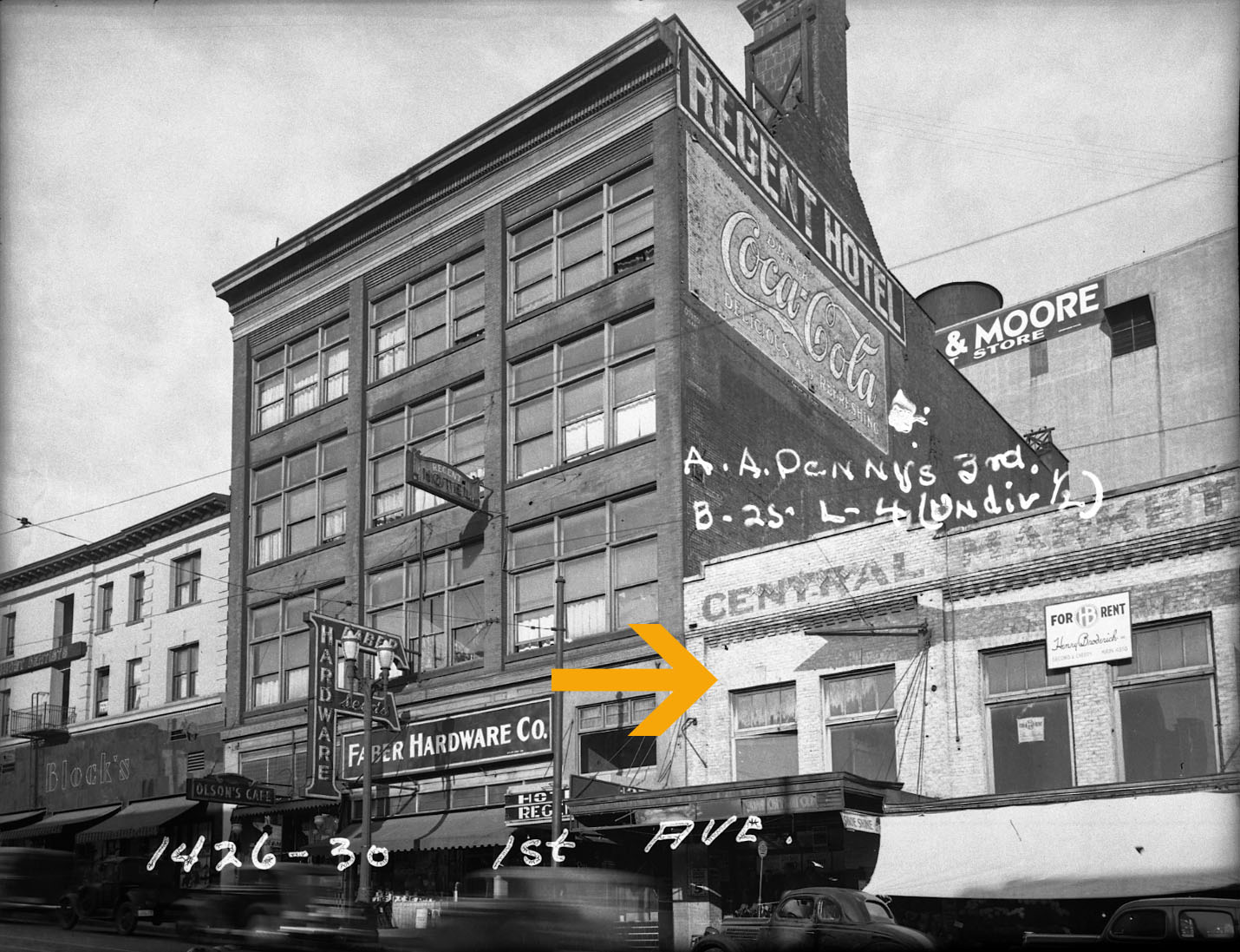 1937- site of the future Showbox in the Central Market building. Photo from Puget Sound Regional Archives.