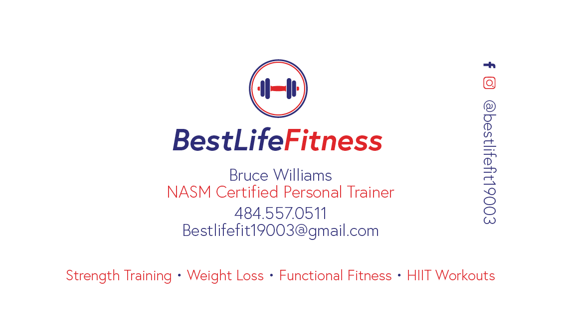 Best Life Fitness Business Card Back