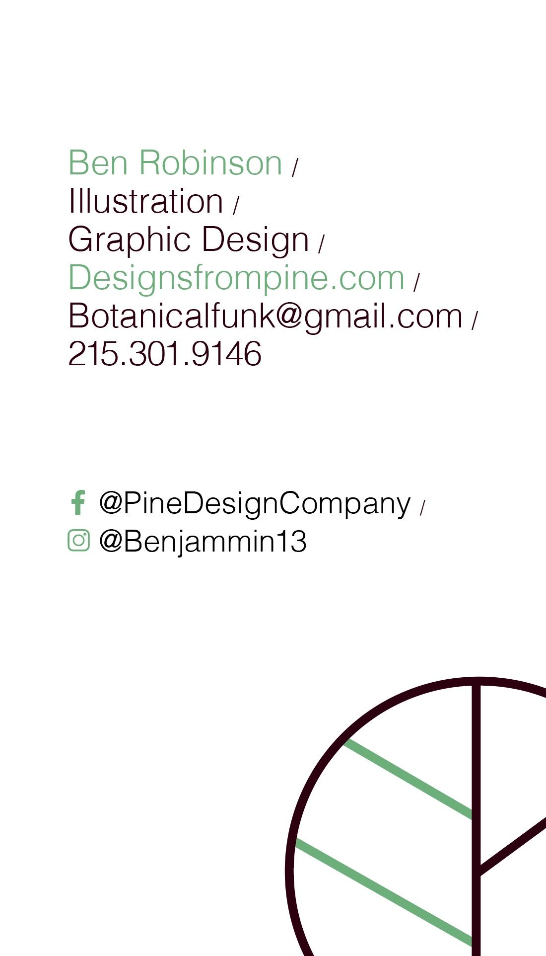 Pine Design Business Card Back