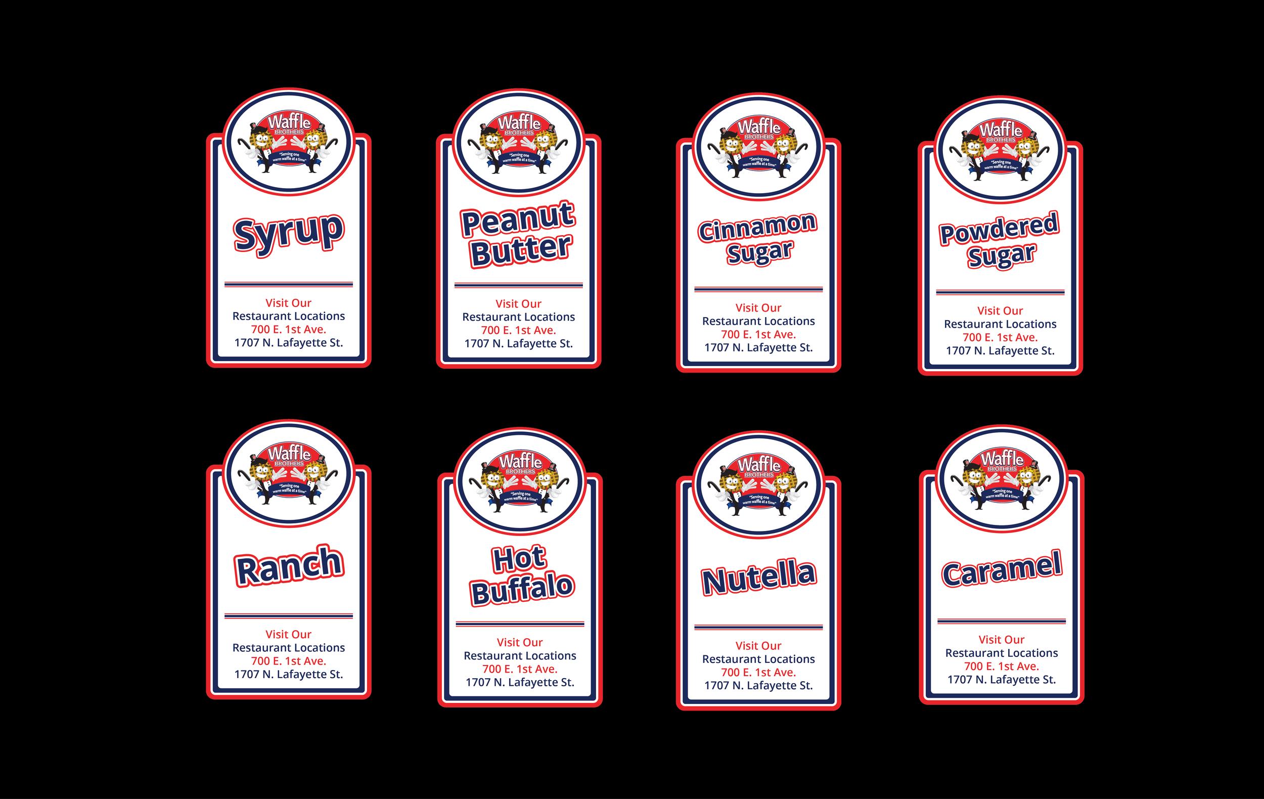 Sauce labels.