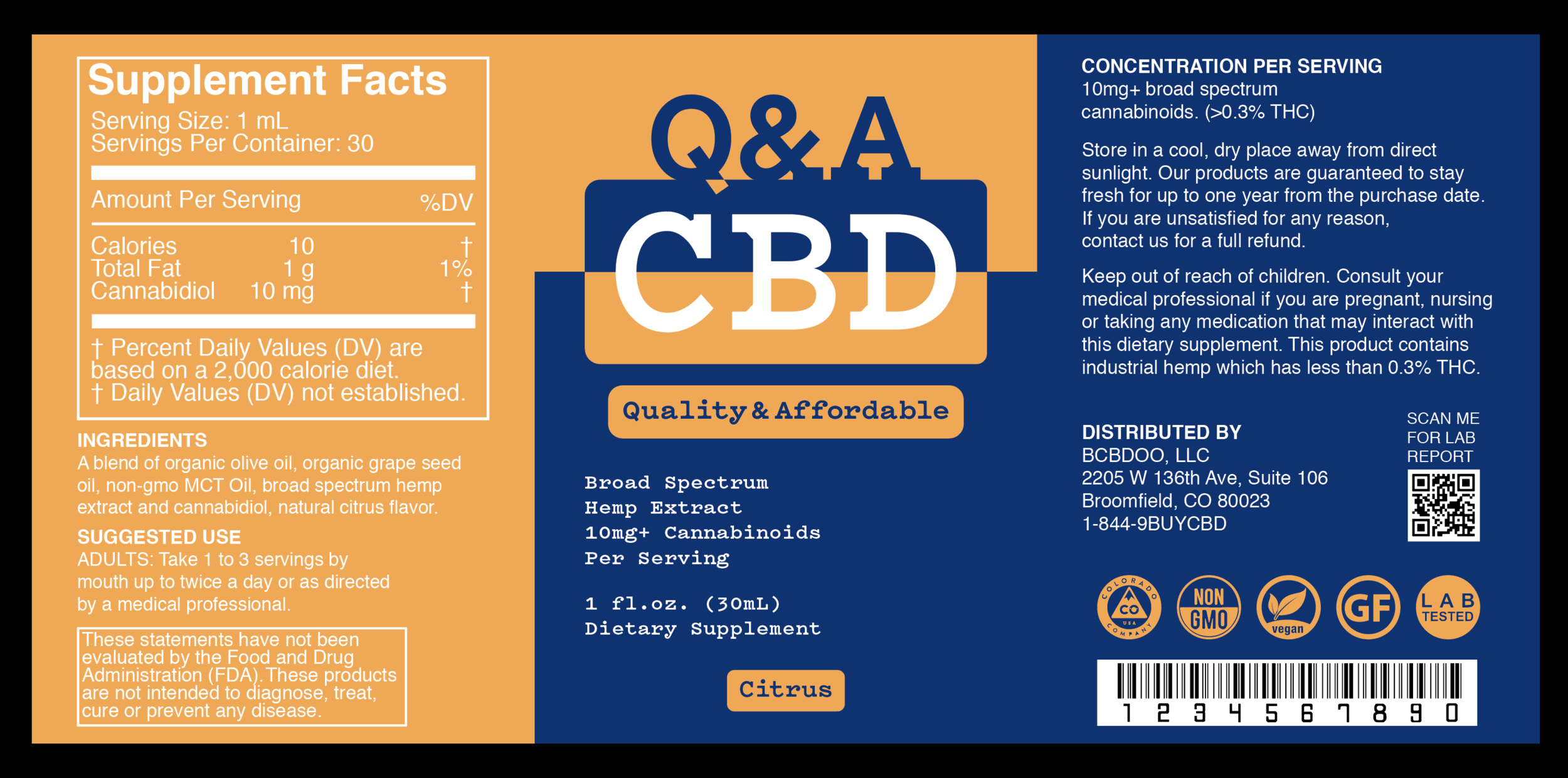 Q&A CBD Citrus Label.
