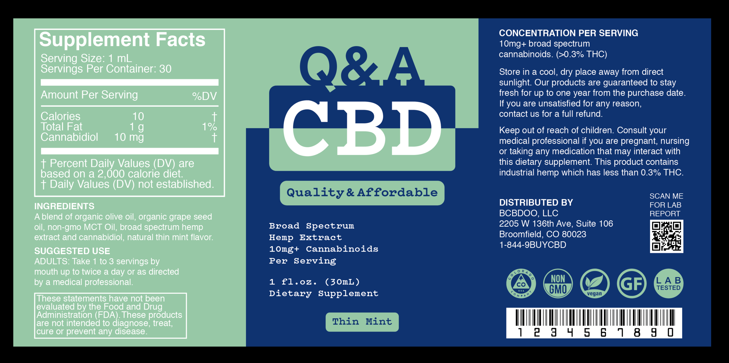 Q&A CBD Thin Mint Label.